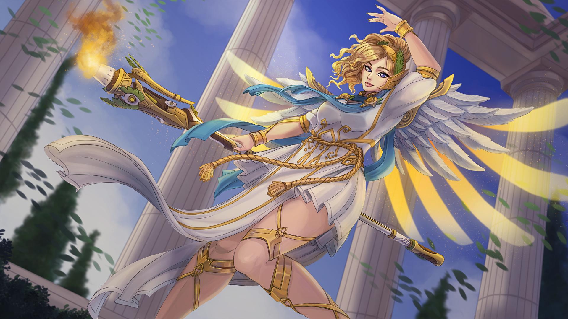 壁紙 1920x1080 オーバーウォッチ 天使 Mercy 杖 ゲーム 少女