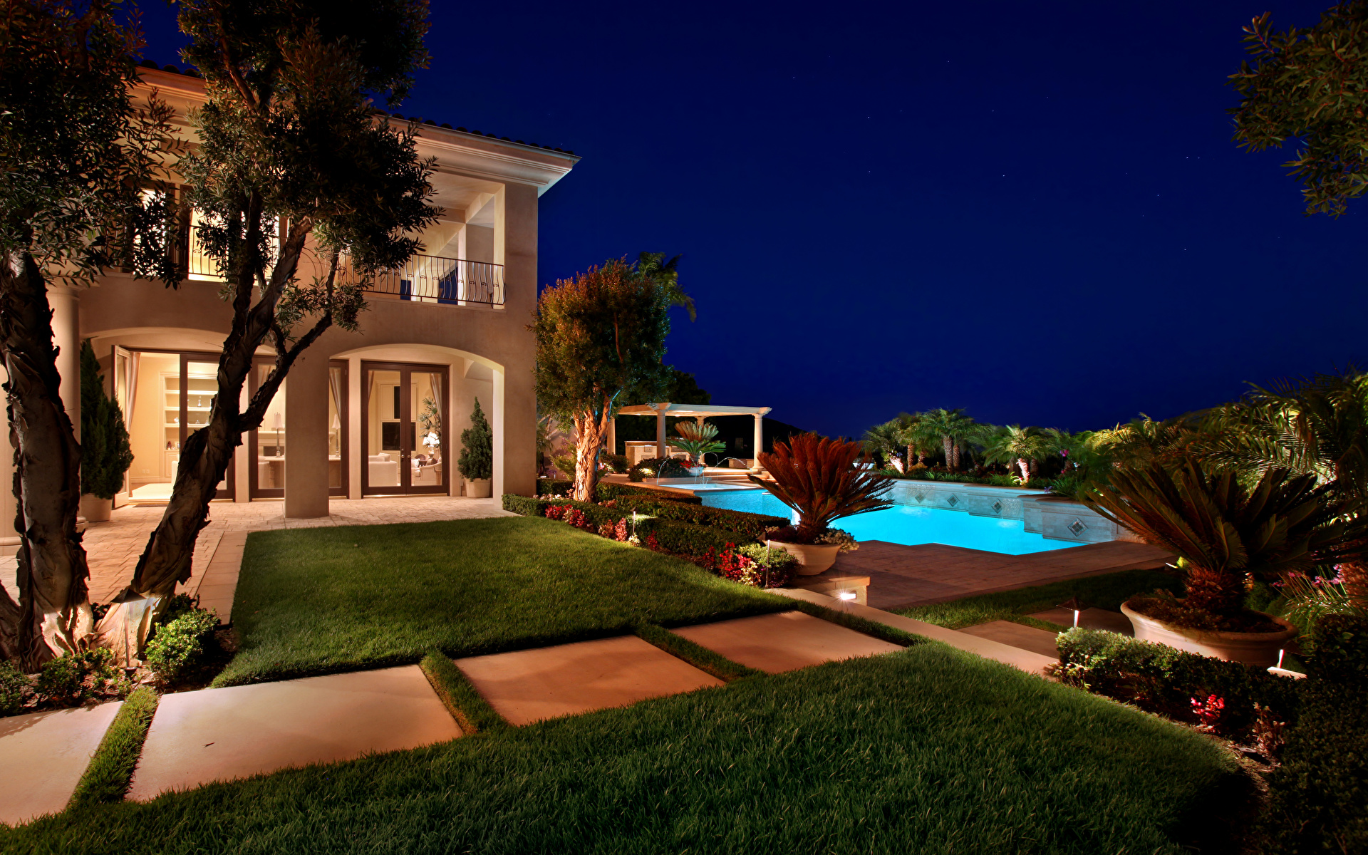 Image Villa USA Pools Fair Harbor Lawn Night Cities 1920x1200 Swimming bath night time