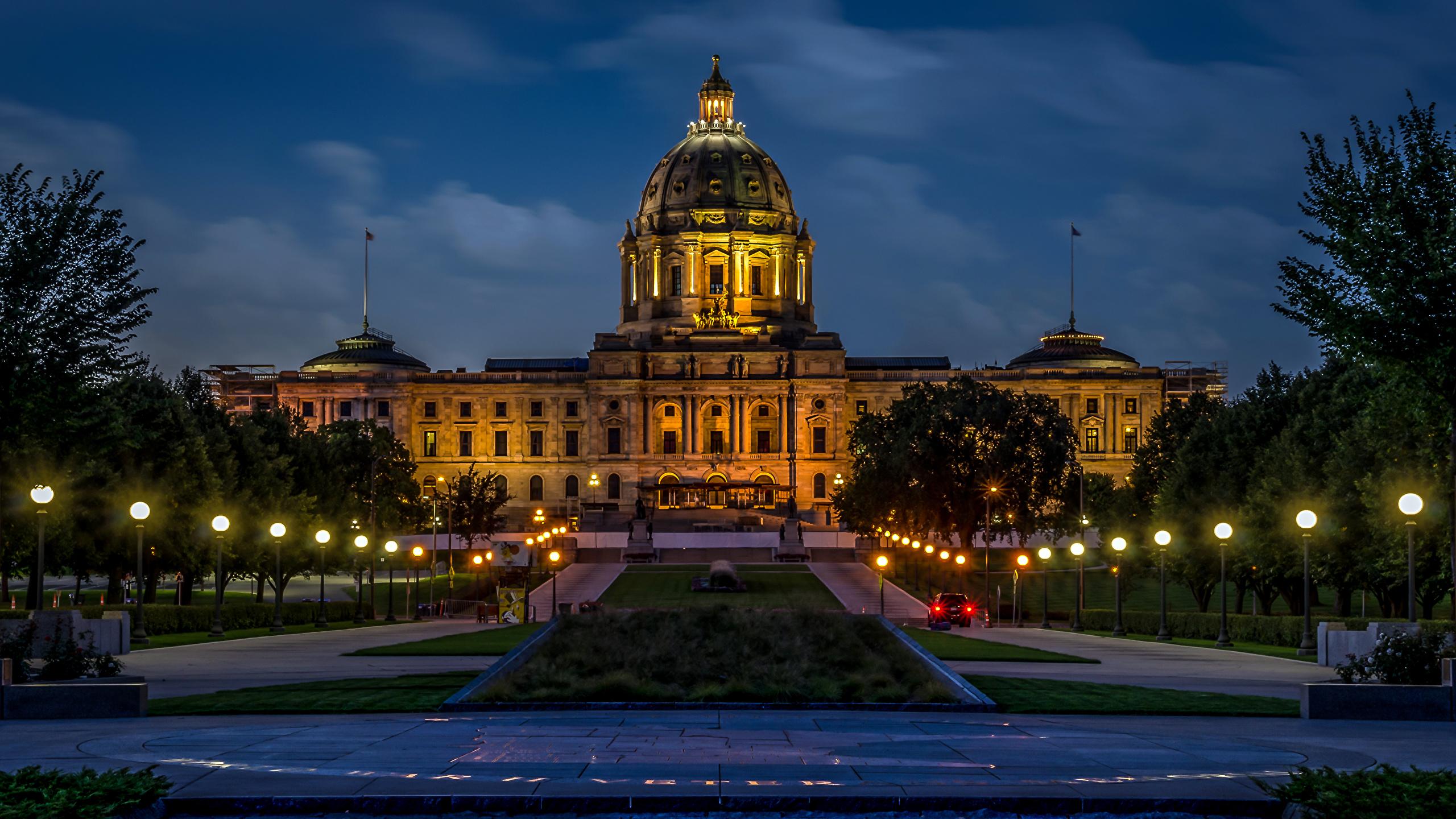 Photo Usa Minnesota State Capitol Night Time Street Lights
