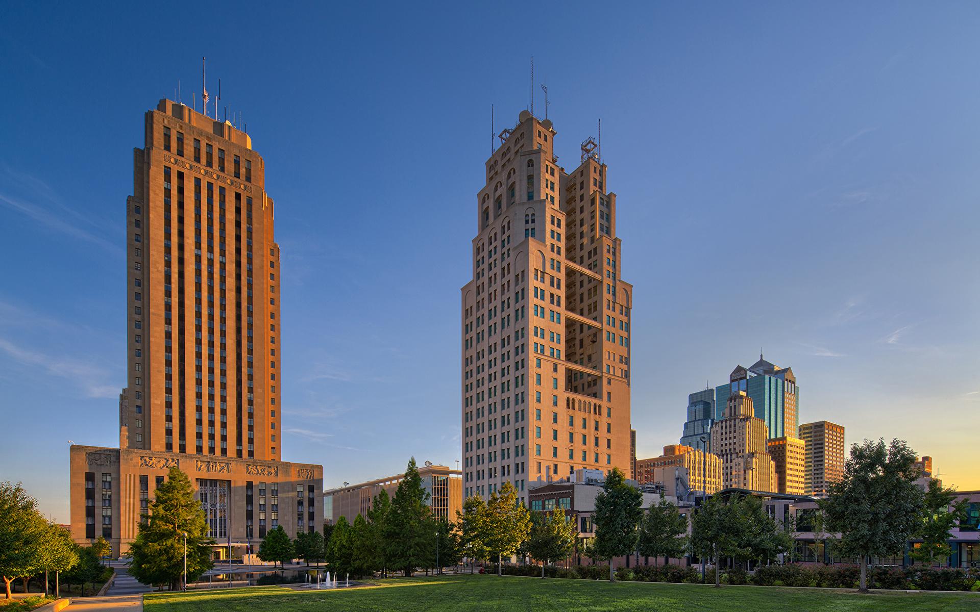 1920x1200、アメリカ合衆国、住宅、Kansas Missouri、芝、木、建物、都市、