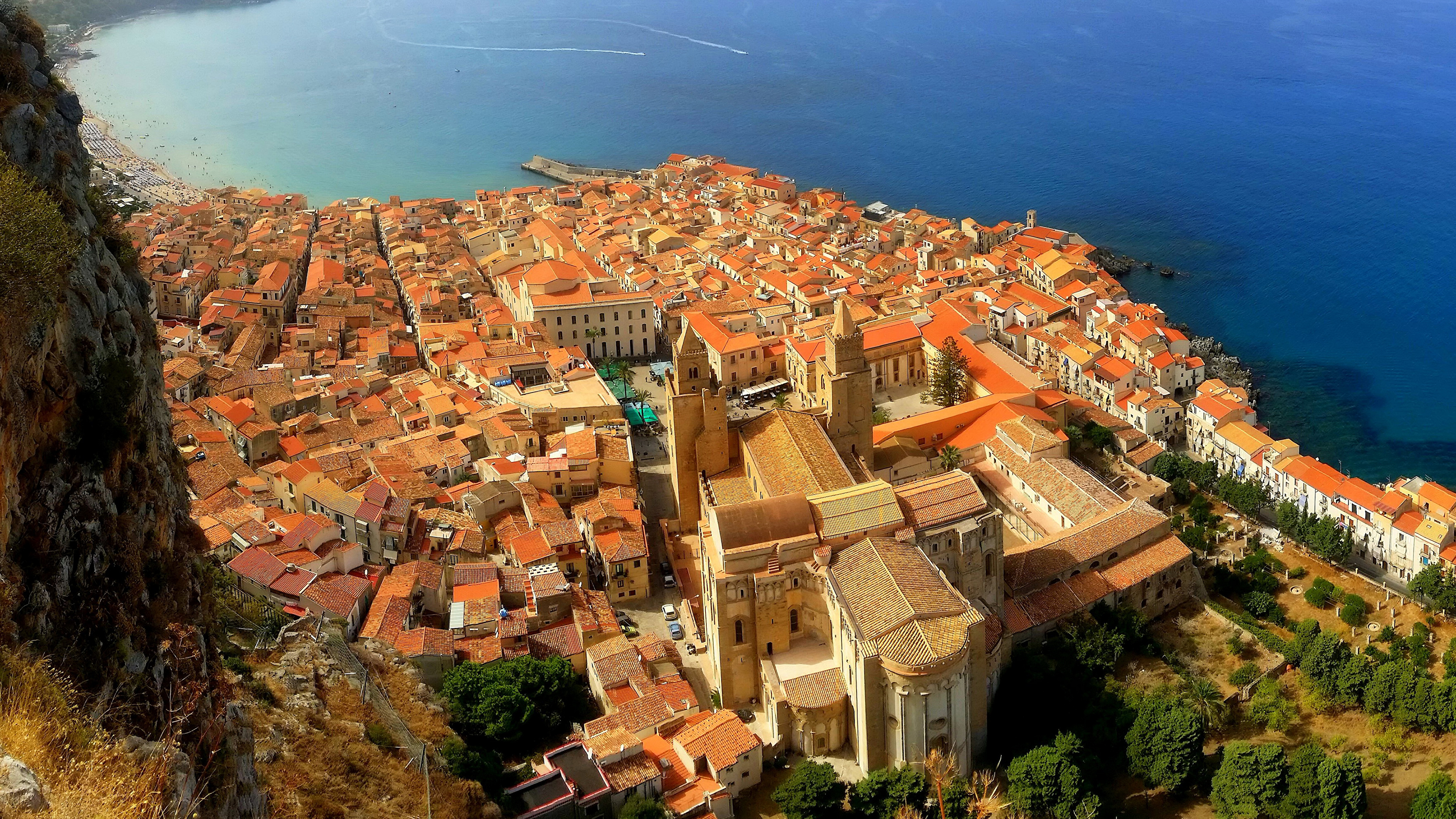 Desktop Wallpapers Sicily Italy Cefalu From Above Houses 3840x2160