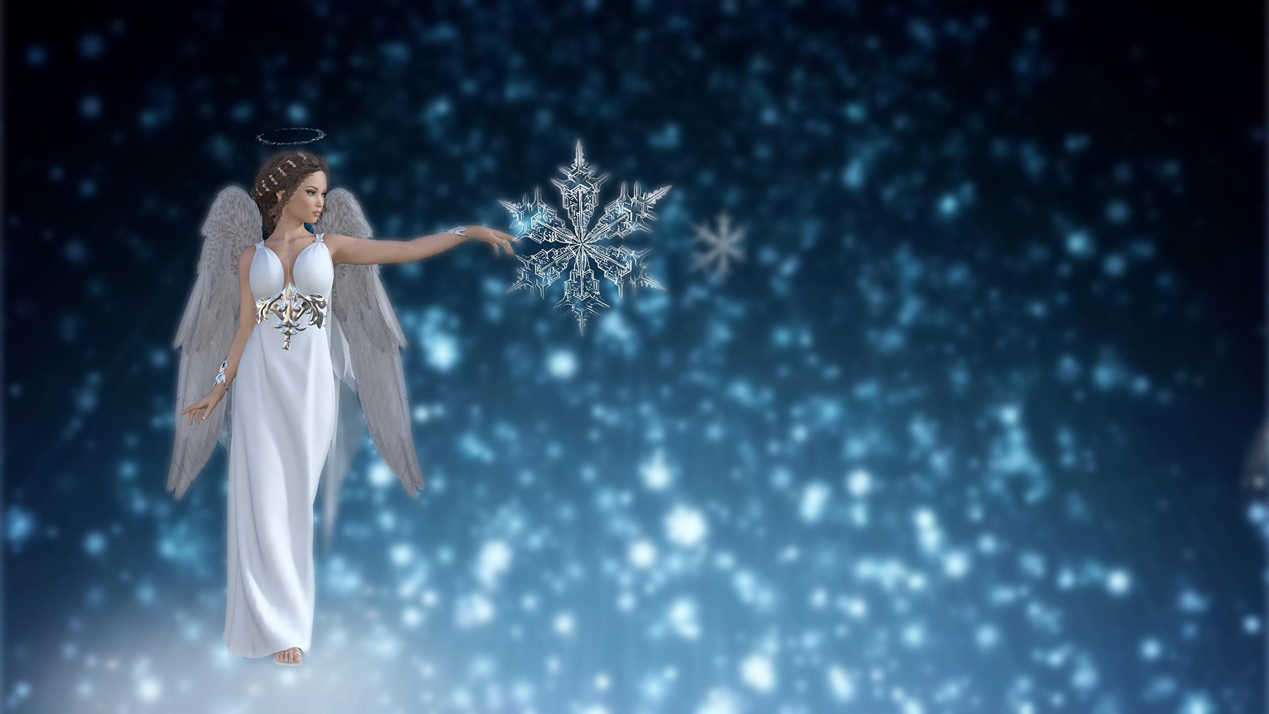 Desktop Hintergrundbilder Fantasy Mädchens 3D-Grafik Schneeflocken Engel 2560x1440 junge frau junge Frauen Engeln
