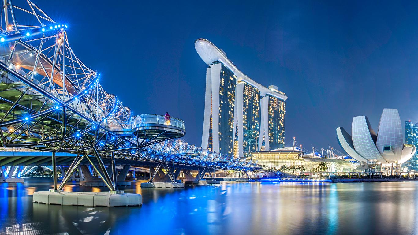 Desktop Wallpapers Singapore Helix Bridge Bridges Night 1366x768