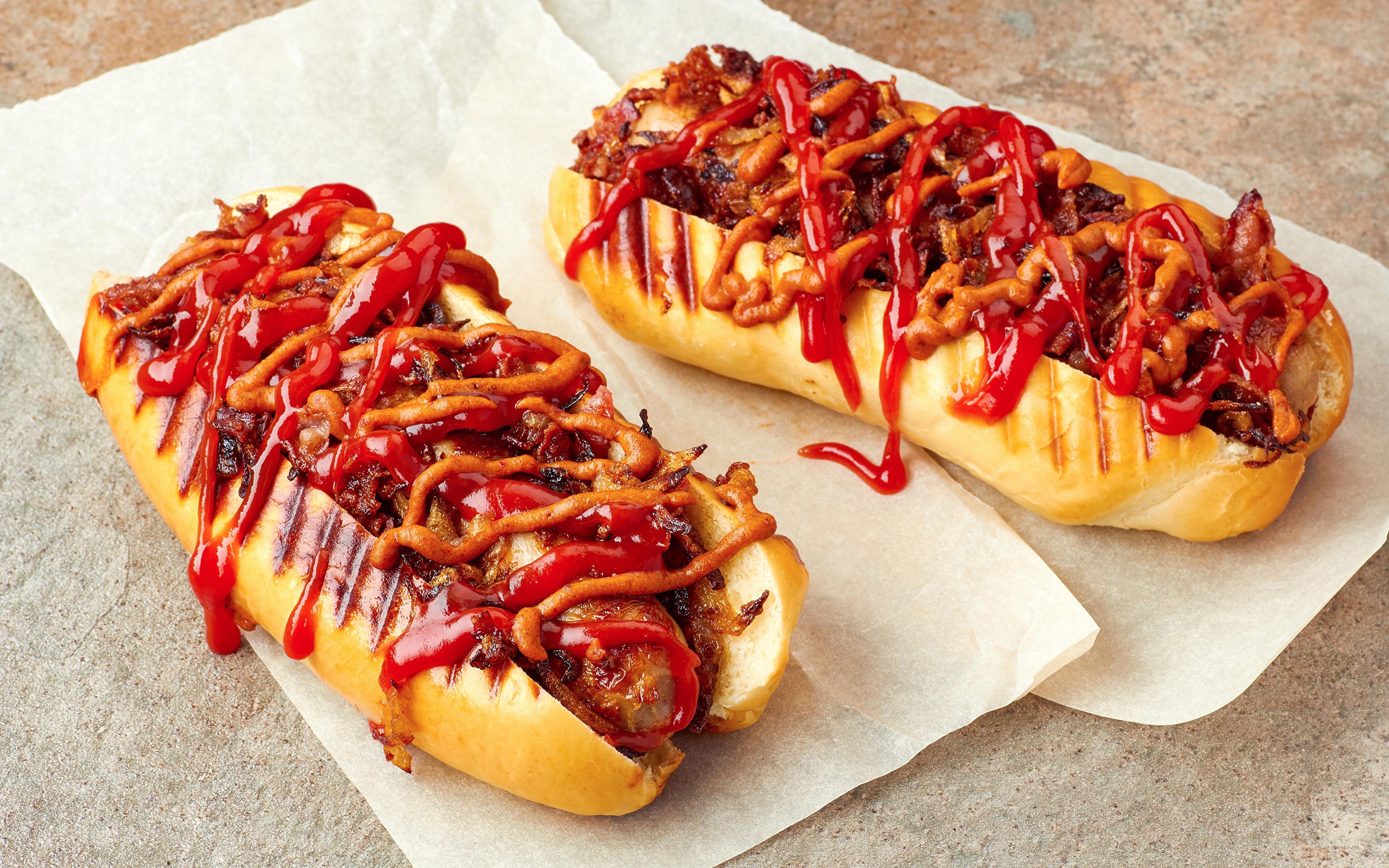 Images 2 Hot Dog Buns Ketchup Fast Food Food 3840x2400