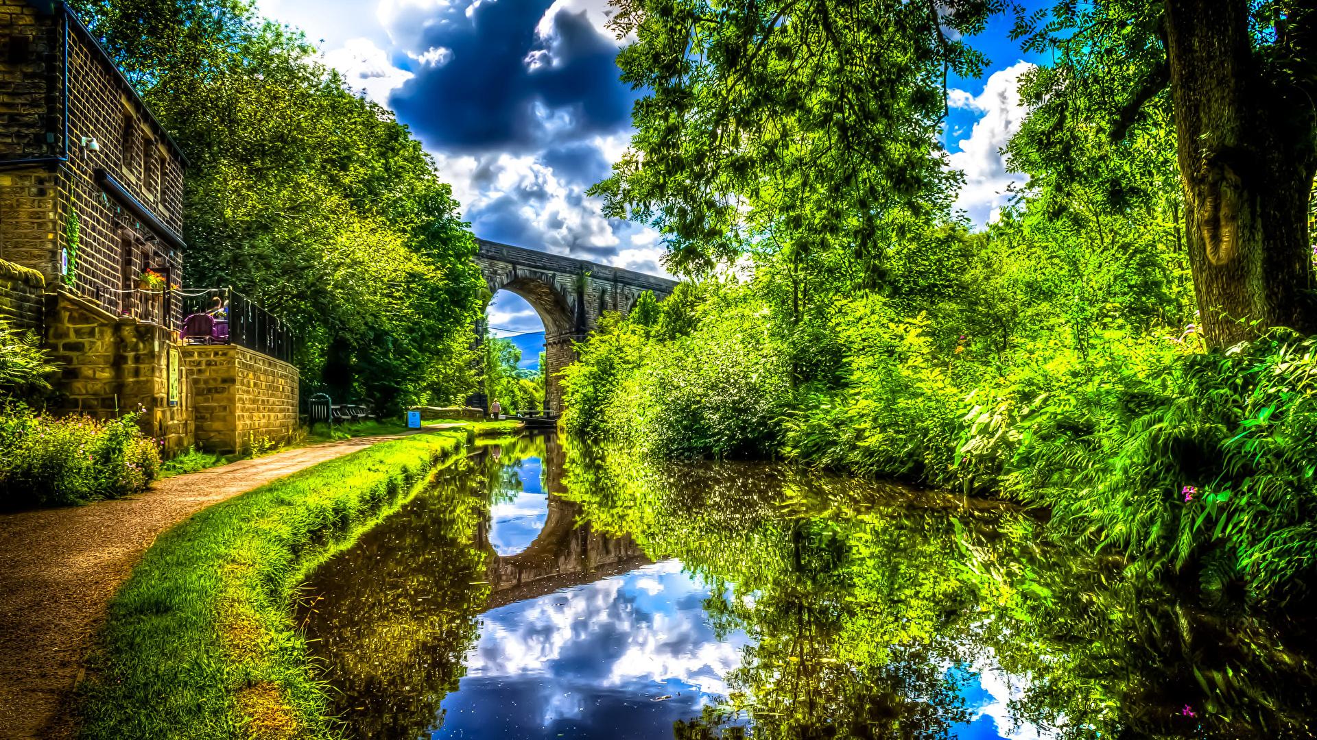 壁紙 19x1080 英格兰 河流 Uppermill 高动态光照渲染 灌木 大自然 下载 照片