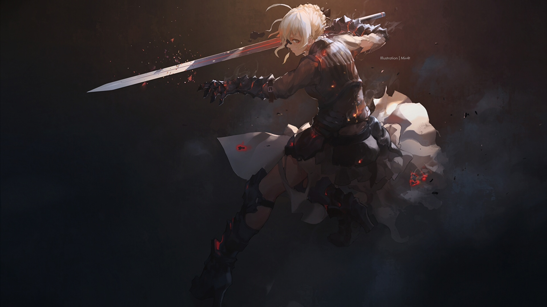 Photo Fate Stay Night Swords Blonde Girl Warriors Saber 1920x1080