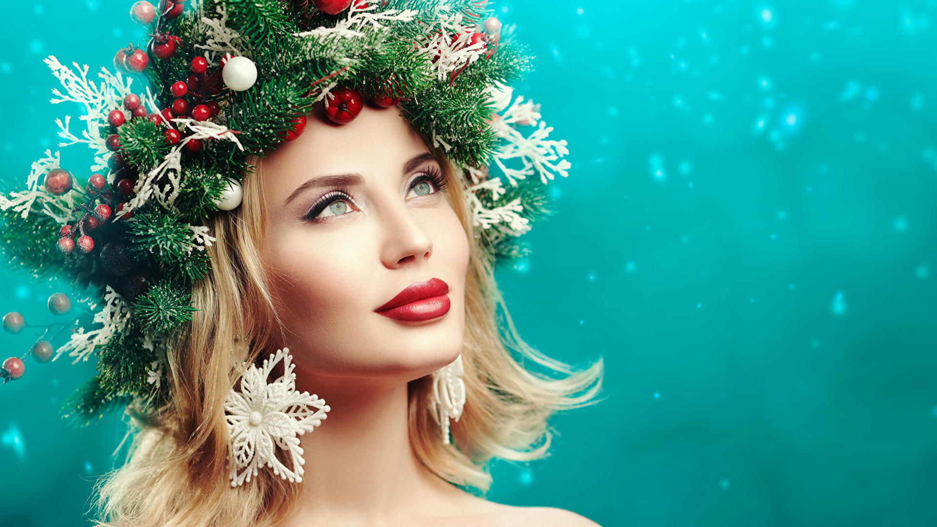 Fotos von Neujahr Blondine Model Make Up Gesicht junge Frauen originelle Ast Kugeln Blick Rote Lippen 1920x1080 Blond Mädchen Schminke Mädchens junge frau Kreativ kreative Starren