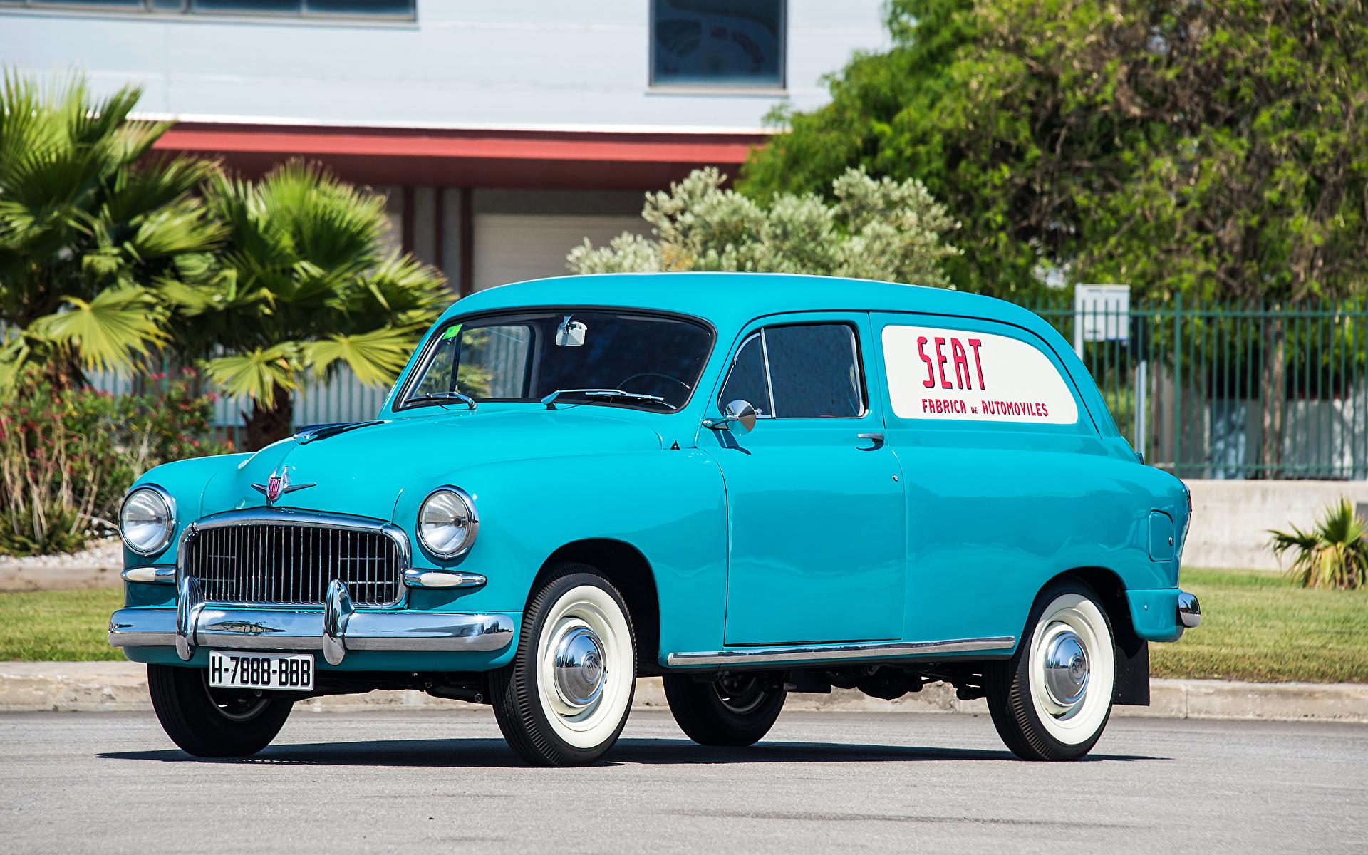 Pictures Seat 1959-63 1400 B Furgoneta Retro Light Blue auto 1920x1200 antique vintage Cars automobile