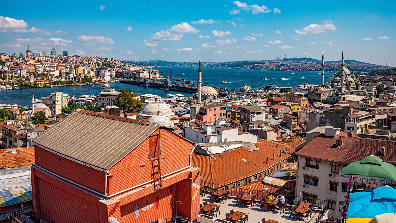 Fotos Istanbul Moschee Türkei Haus Städte 1366x768 Gebäude