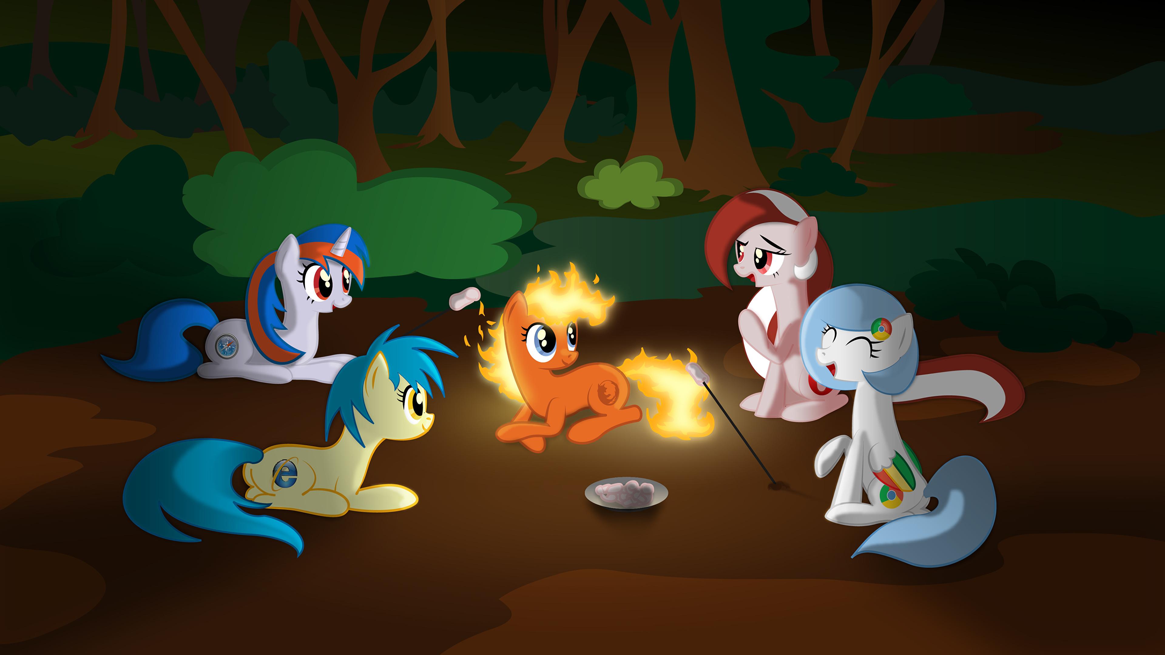 Wallpaper My Little Pony Unicorns Cartoons Fire 3840x2160
