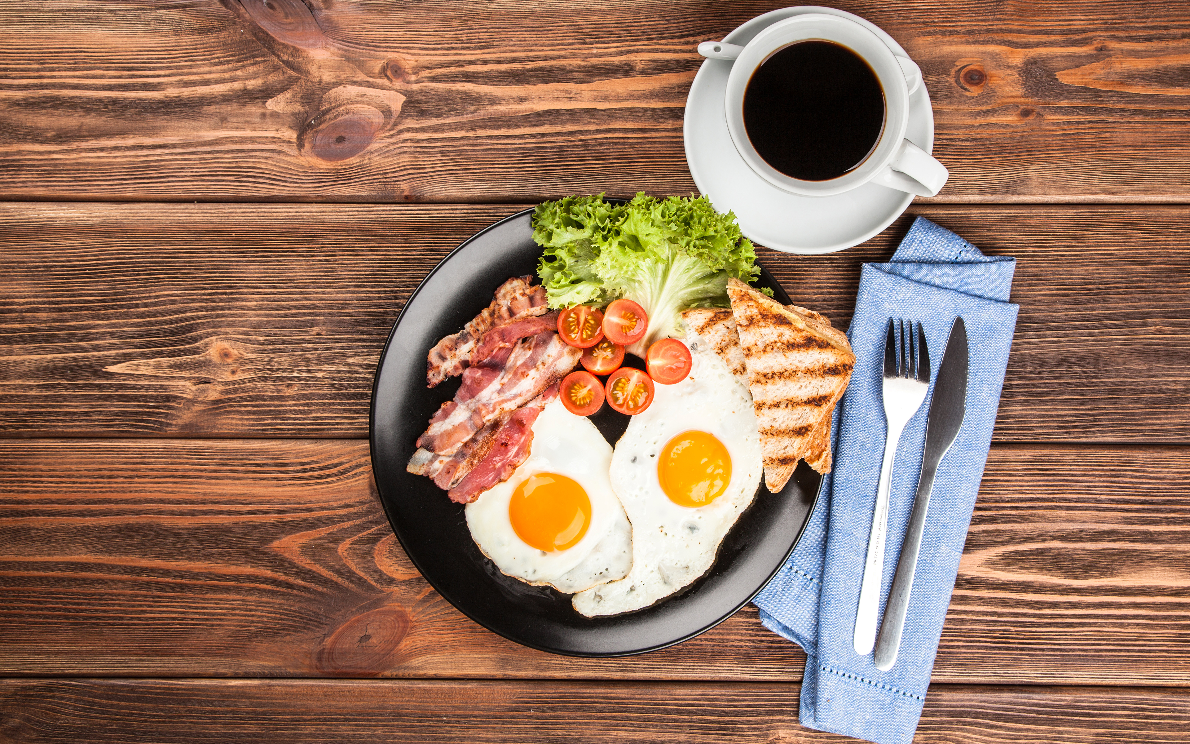 Photos Knife Fried egg Coffee Breakfast Bread Cup Fork Food Vegetables Still-life Meat products 3840x2400