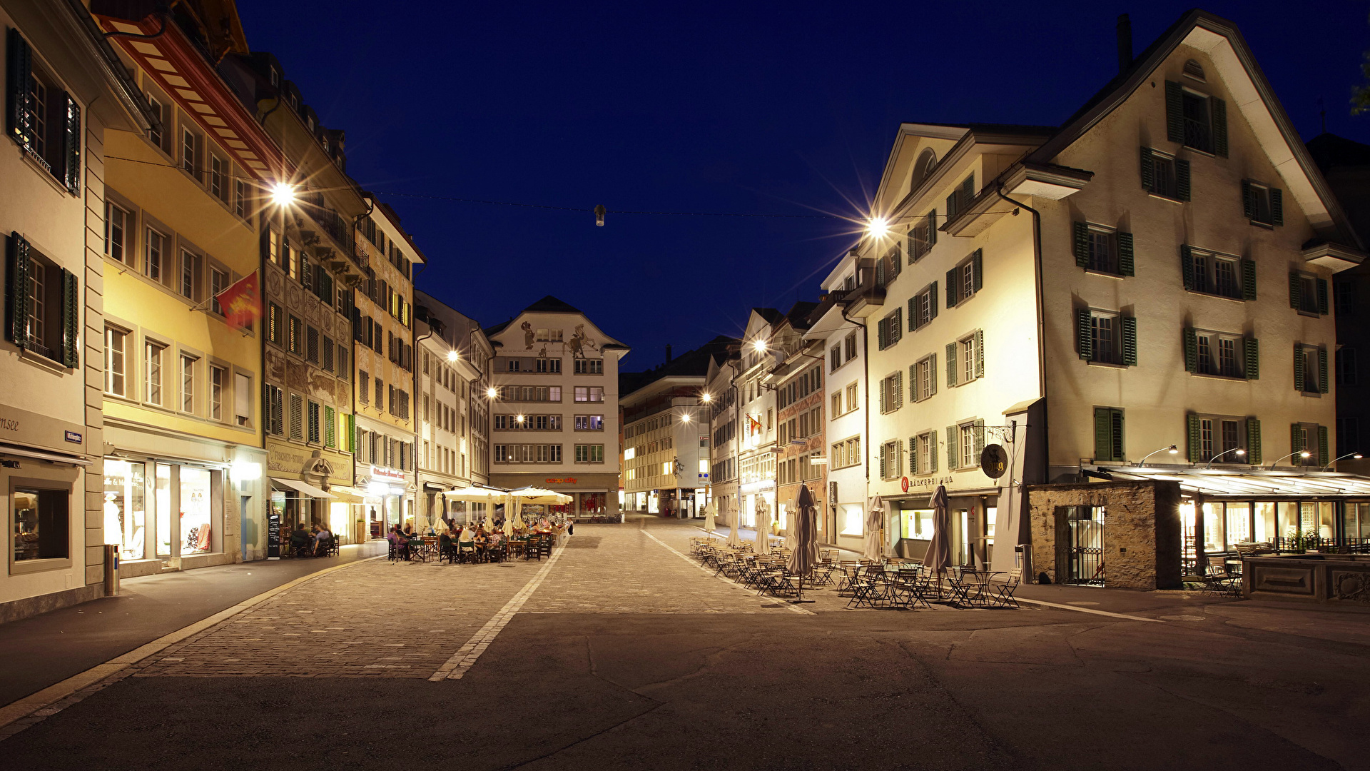 Photos Switzerland Town square Lucern Mahlen Square Street Night Street lights Houses Cities 1920x1080 night time Building