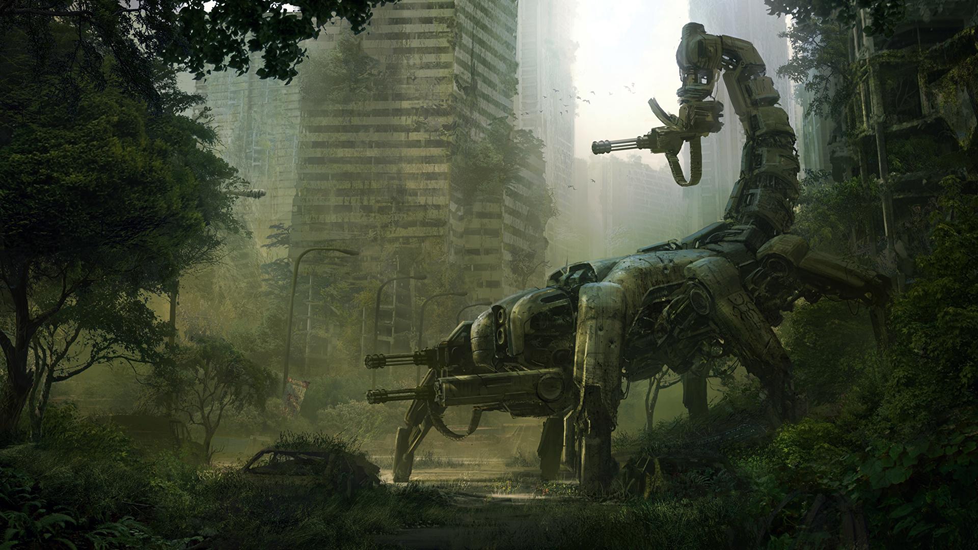 Wallpaper Robots Apocalypse Machine Guns Wasteland 2 Vdeo