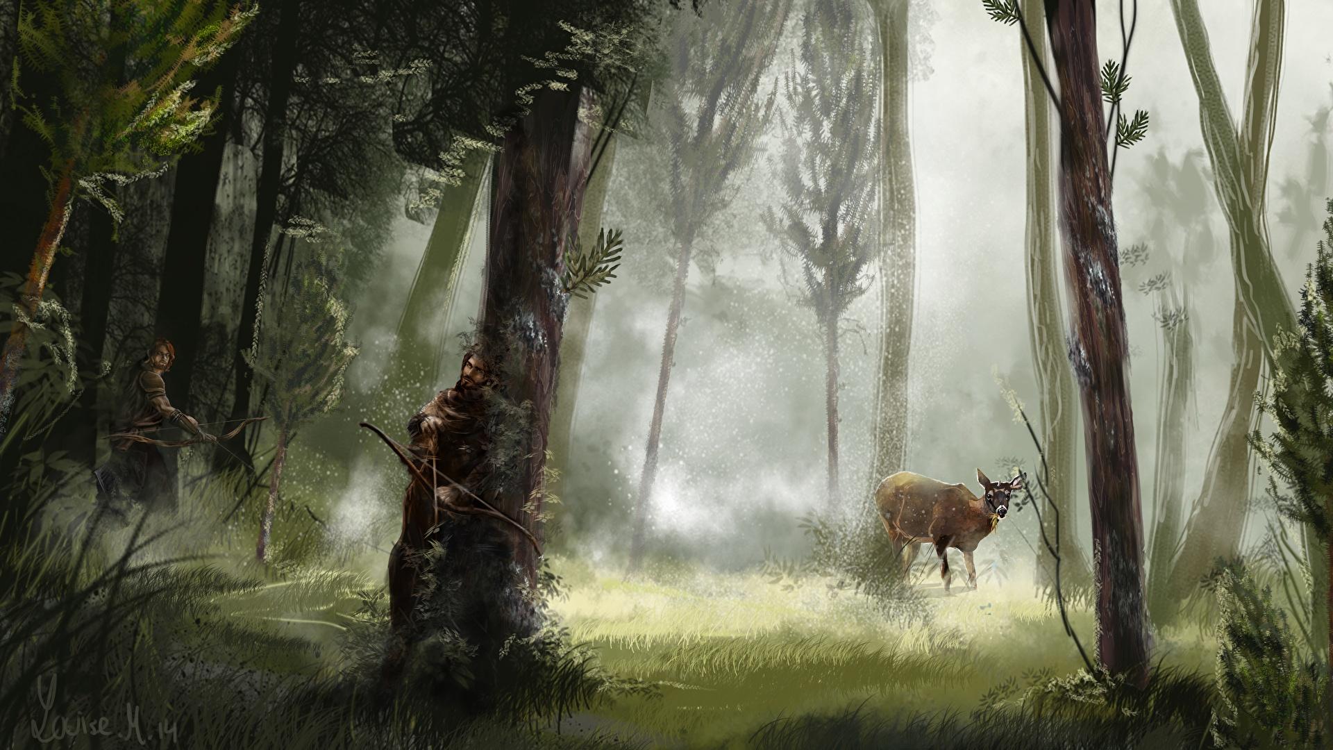 Desktop Wallpapers Deer Archers Warriors Fantasy Forest