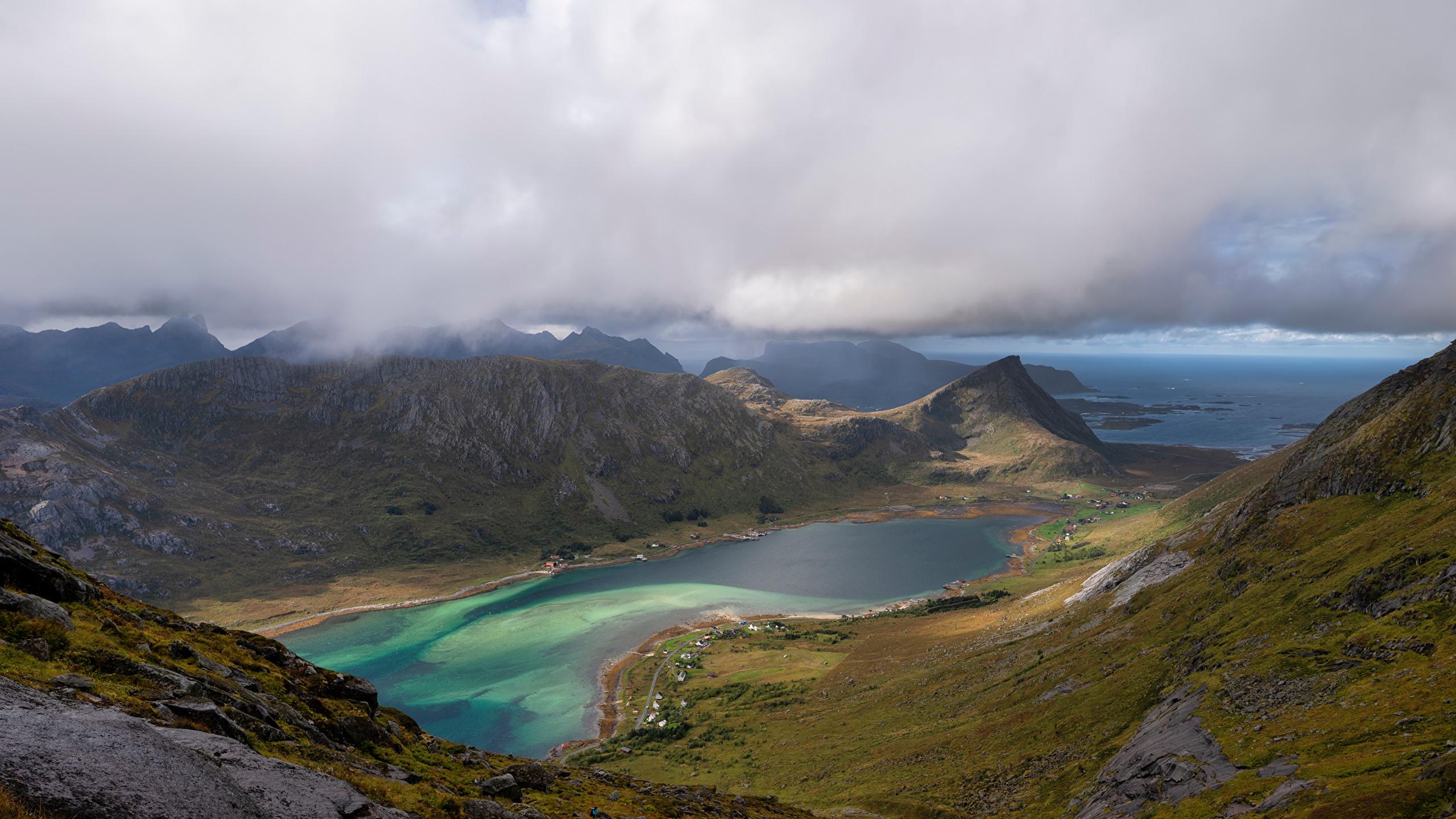 Fotos von Lofoten Norwegen Skjelfjorden Fjord Natur Gebirge Wolke 2560x1440 Berg