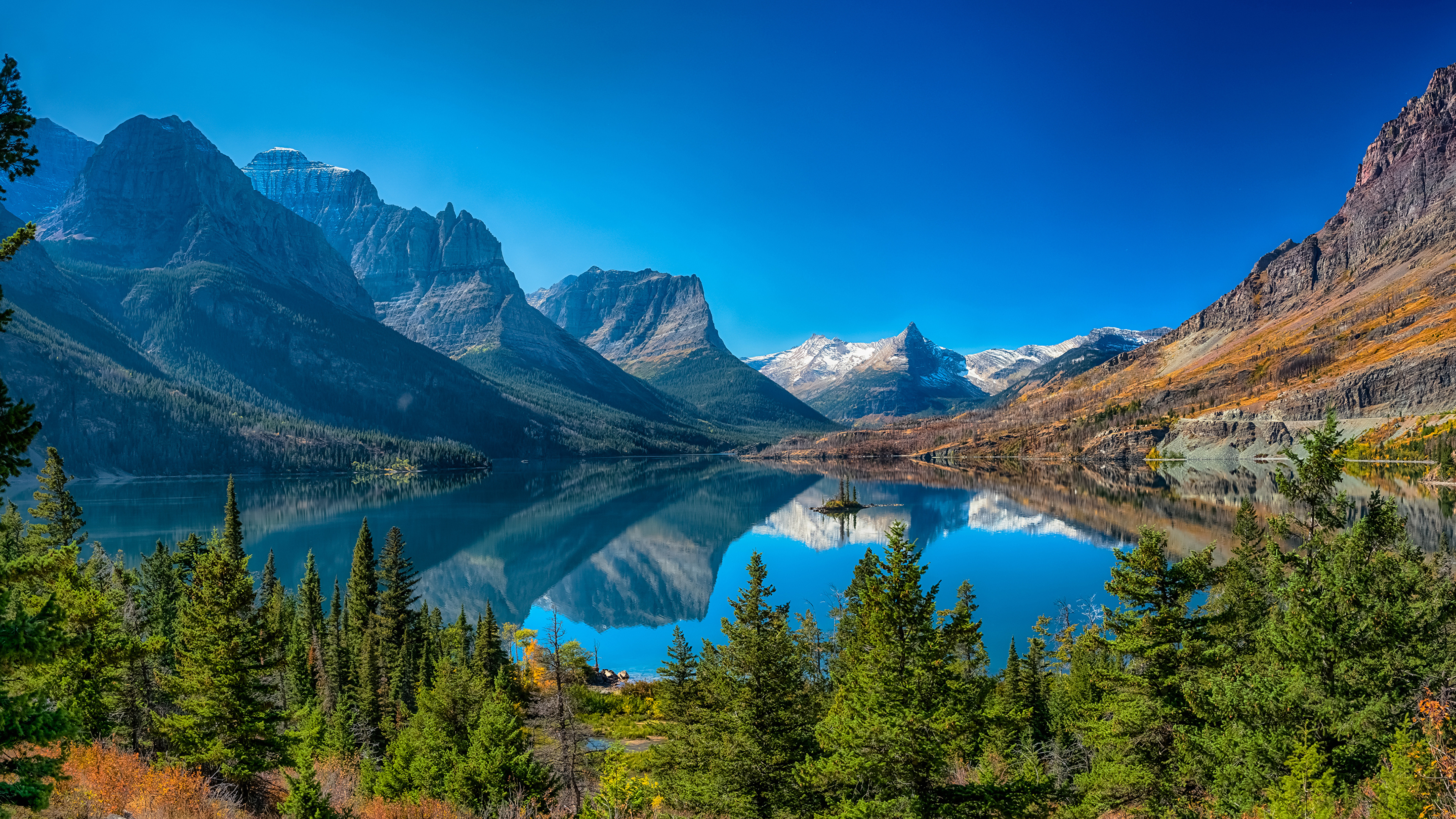 Pictures Usa St Mary Lake Glacier National Park Nature 3840x2160