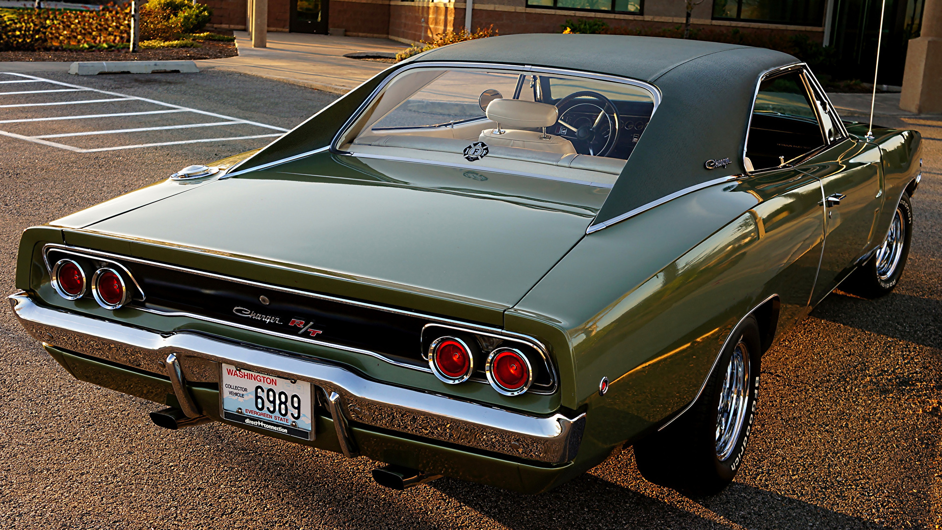 Photo Dodge Charger 1968 Green Antique Auto Back View 1920x1080
