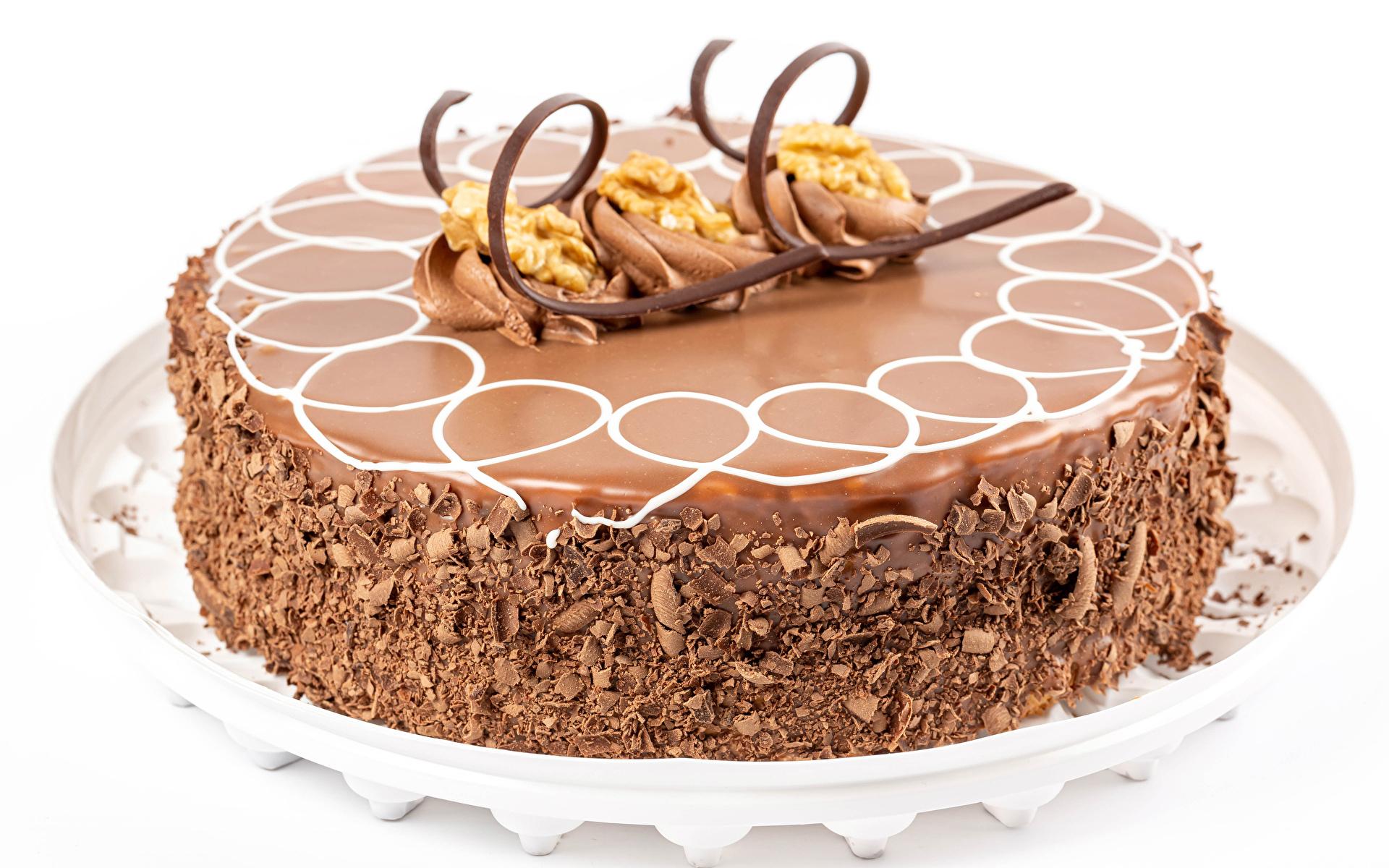 Bilder på skrivbordet Choklad Tårta Mat Vit bakgrund Design 1920x1200 Formgivning