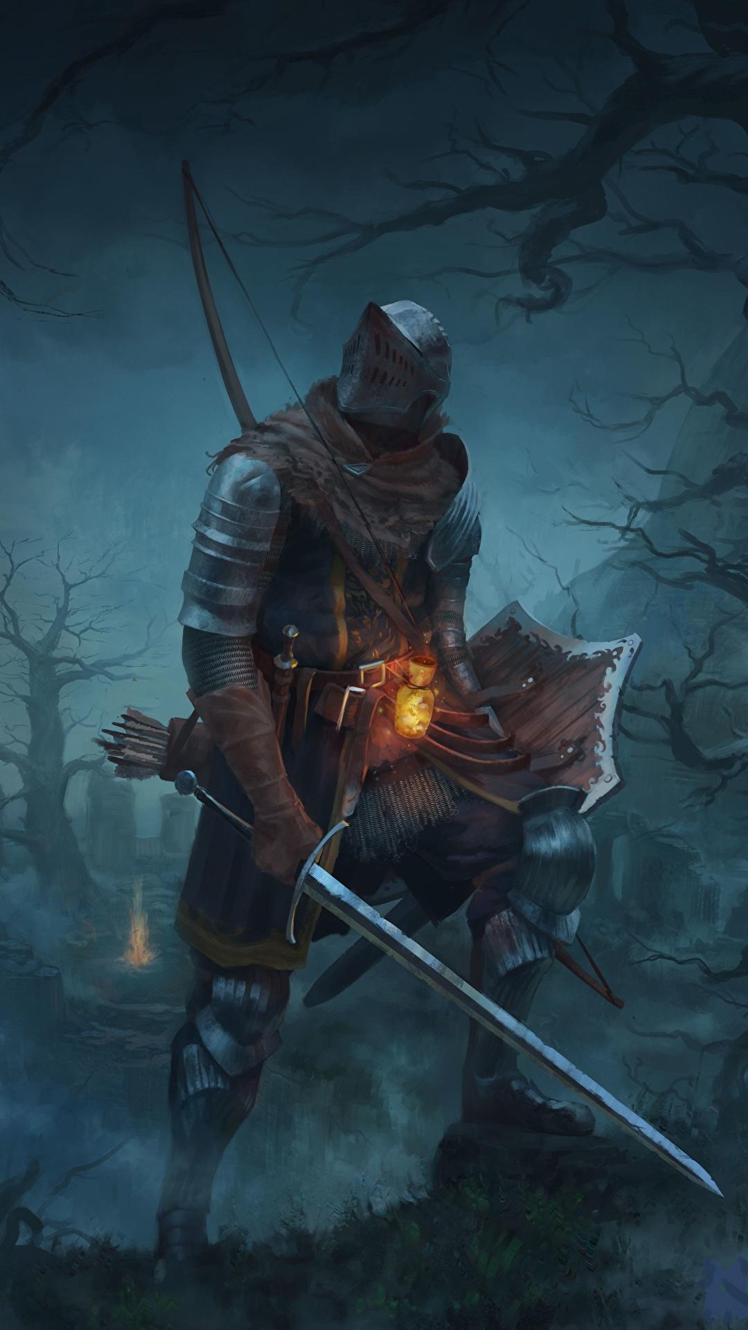 Wallpaper Dark Souls Armor Knight Swords Shield Fantasy 1080x1920