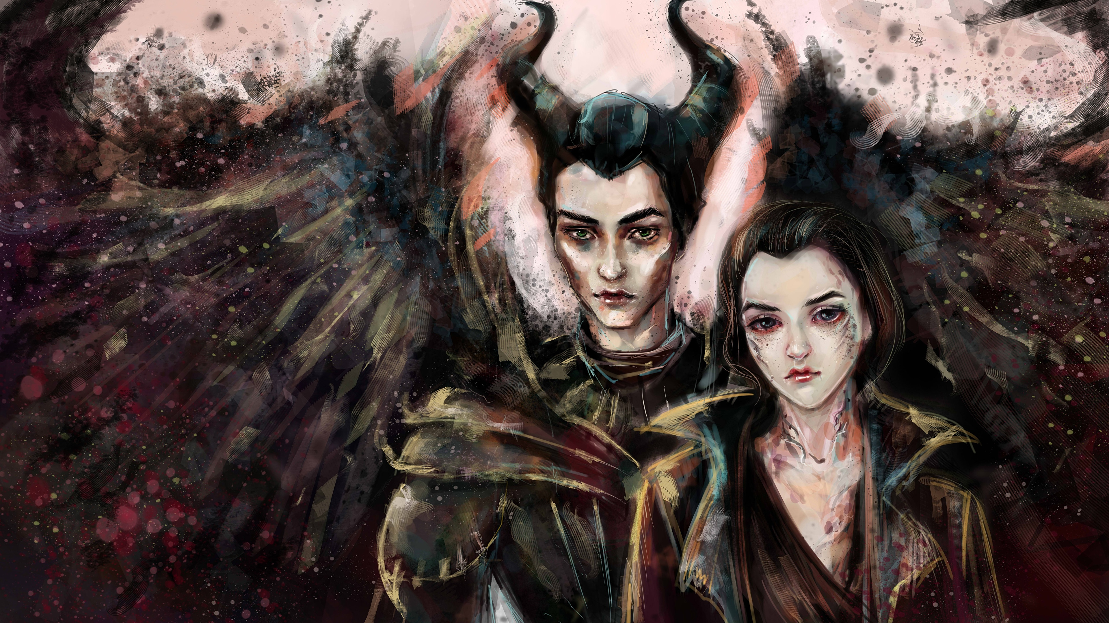 Desktop Wallpapers Horns Wings Maleficent And Diaval 2 3840x2160