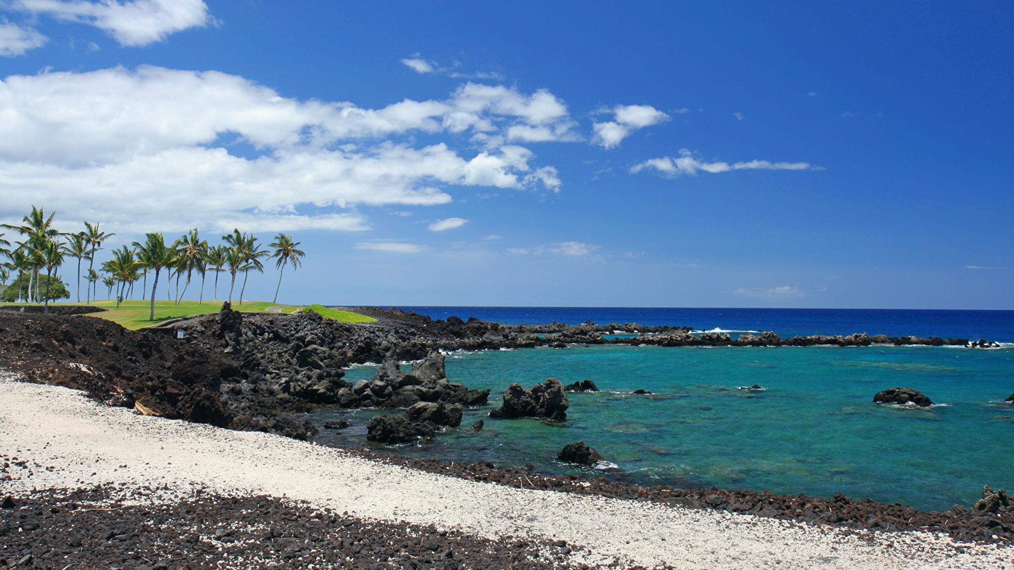 壁紙 2048x1152 海岸 空 大洋 アメリカ合衆国 ハワイ州 自然