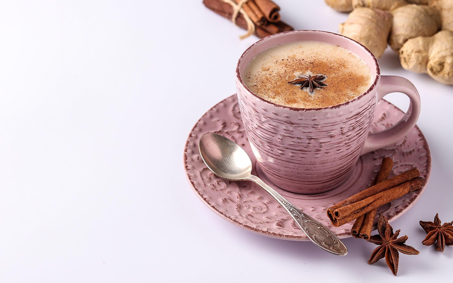 Photos Coffee Cappuccino Star anise Illicium Cinnamon Cup Foam Food Spoon Saucer 1920x1200