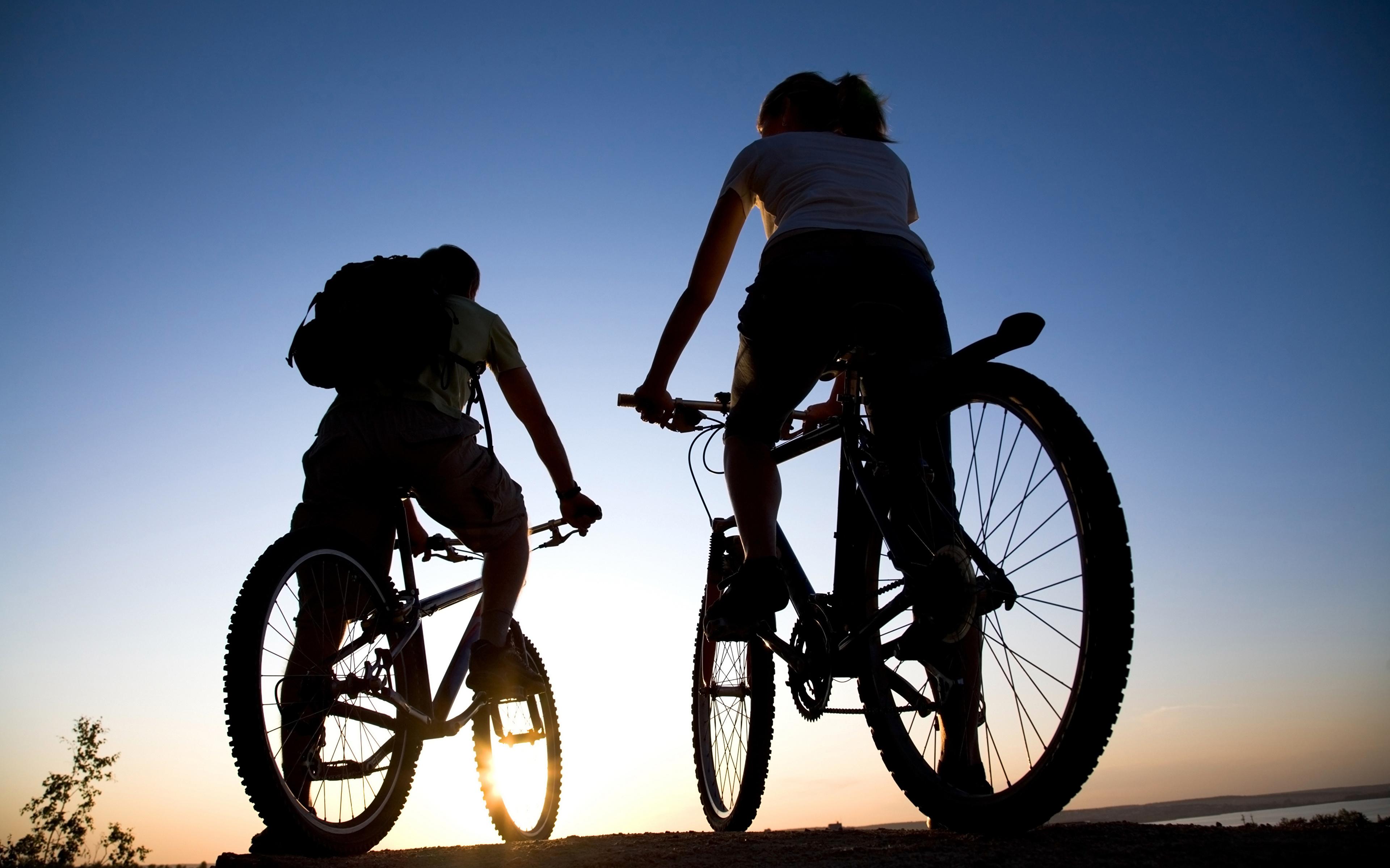 Фотографии Силуэт велосипеды Двое спортивная 3840x2400