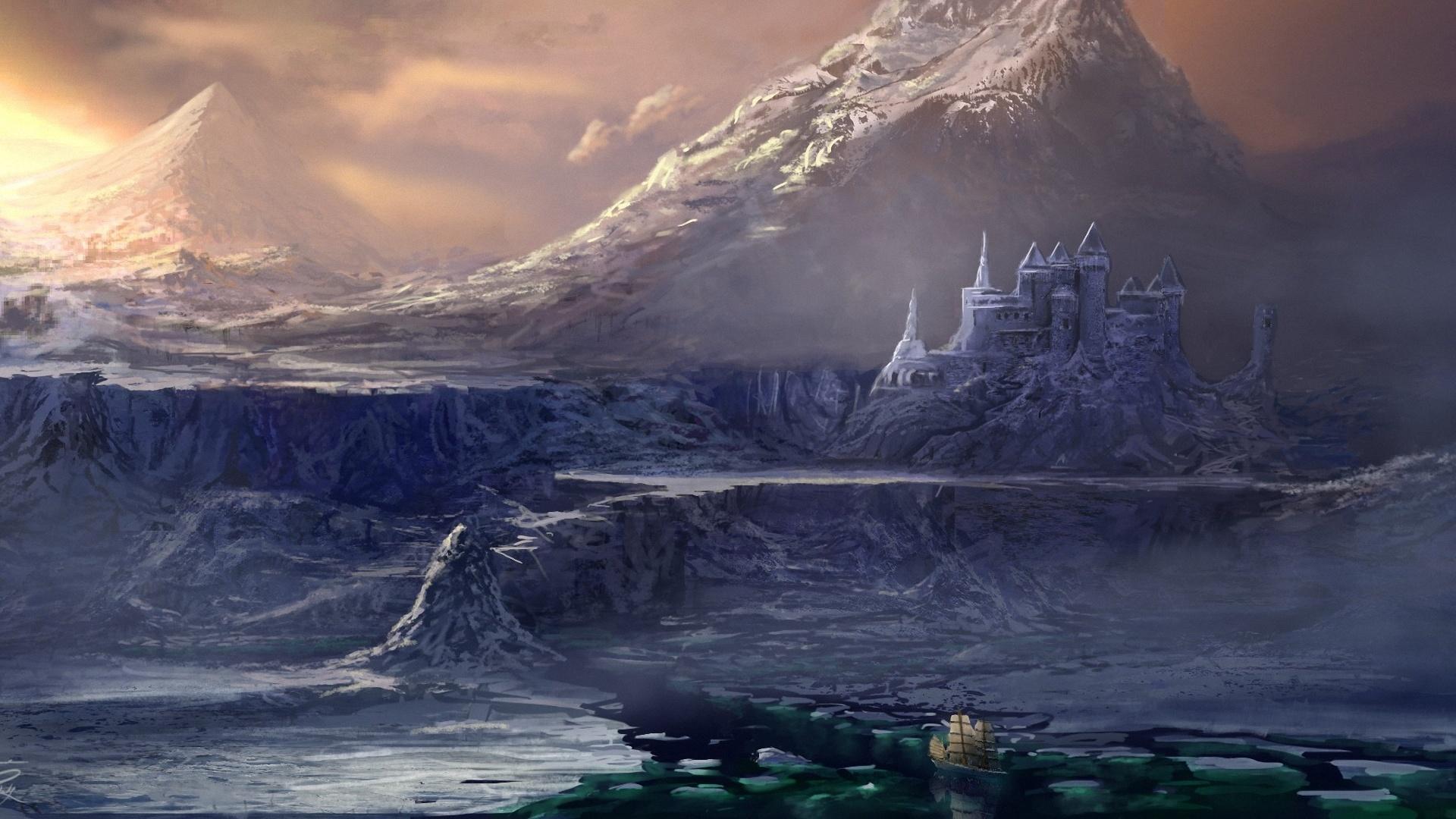Photo Castles Fantasy mountain Snow Fantastic world 1920x1080 castle Mountains