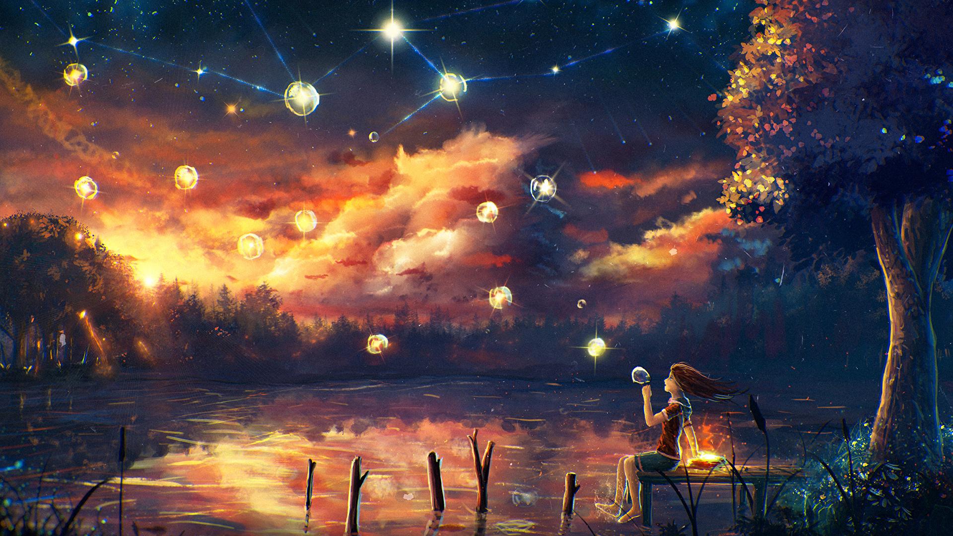 壁紙 1920x1080 幻想的な世界 池 空 木 小さな女の子 夜
