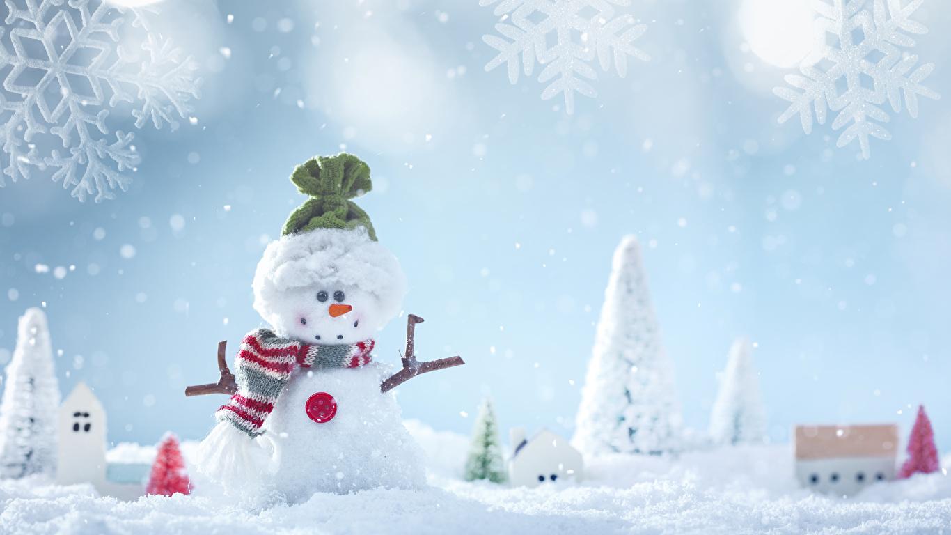 壁紙 1366x768 冬 雪 雪だるま 雪の結晶 暖かい帽子 スカーフ