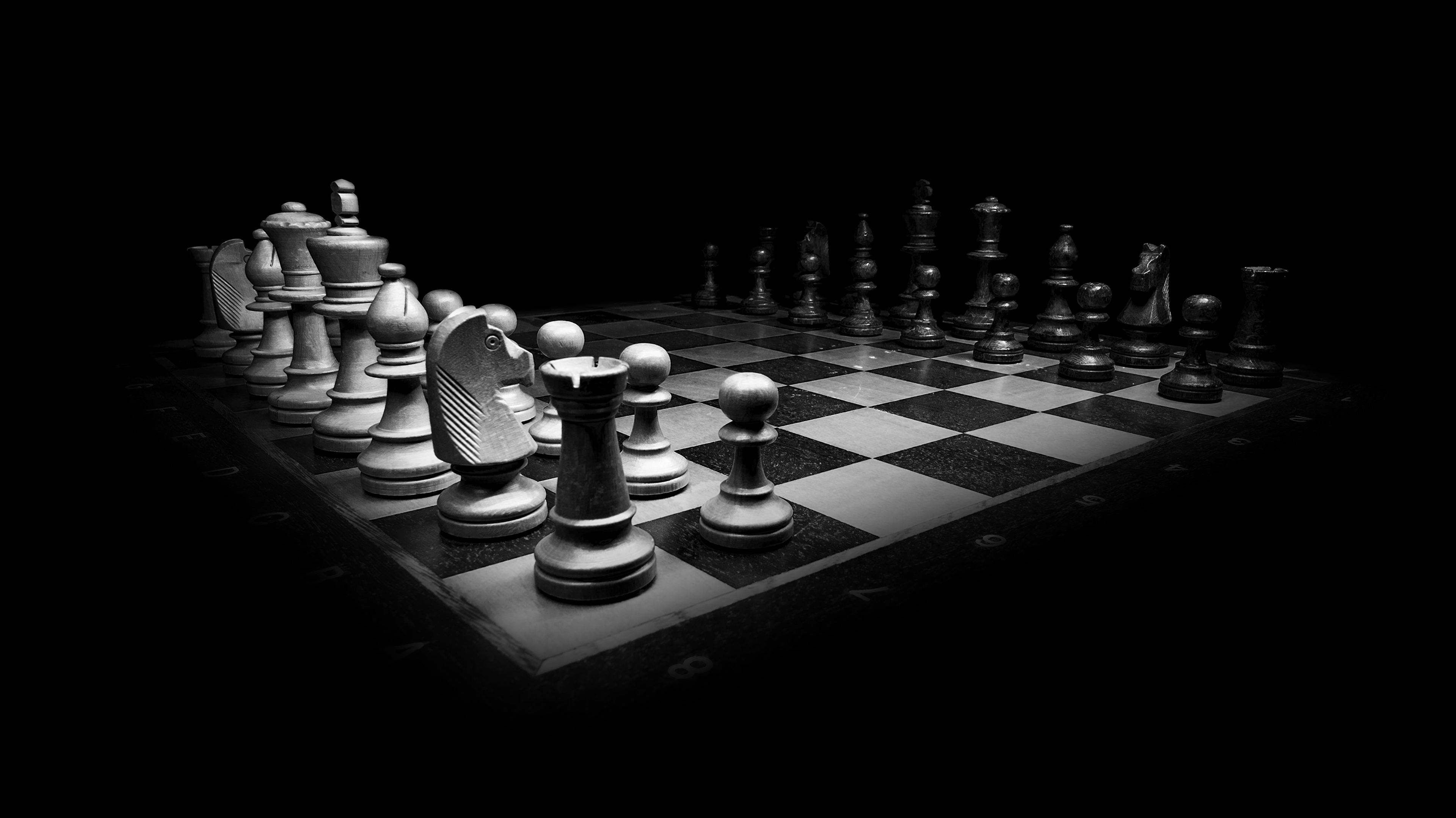 Photo Chess Games Black And White Black Background 3840x2160
