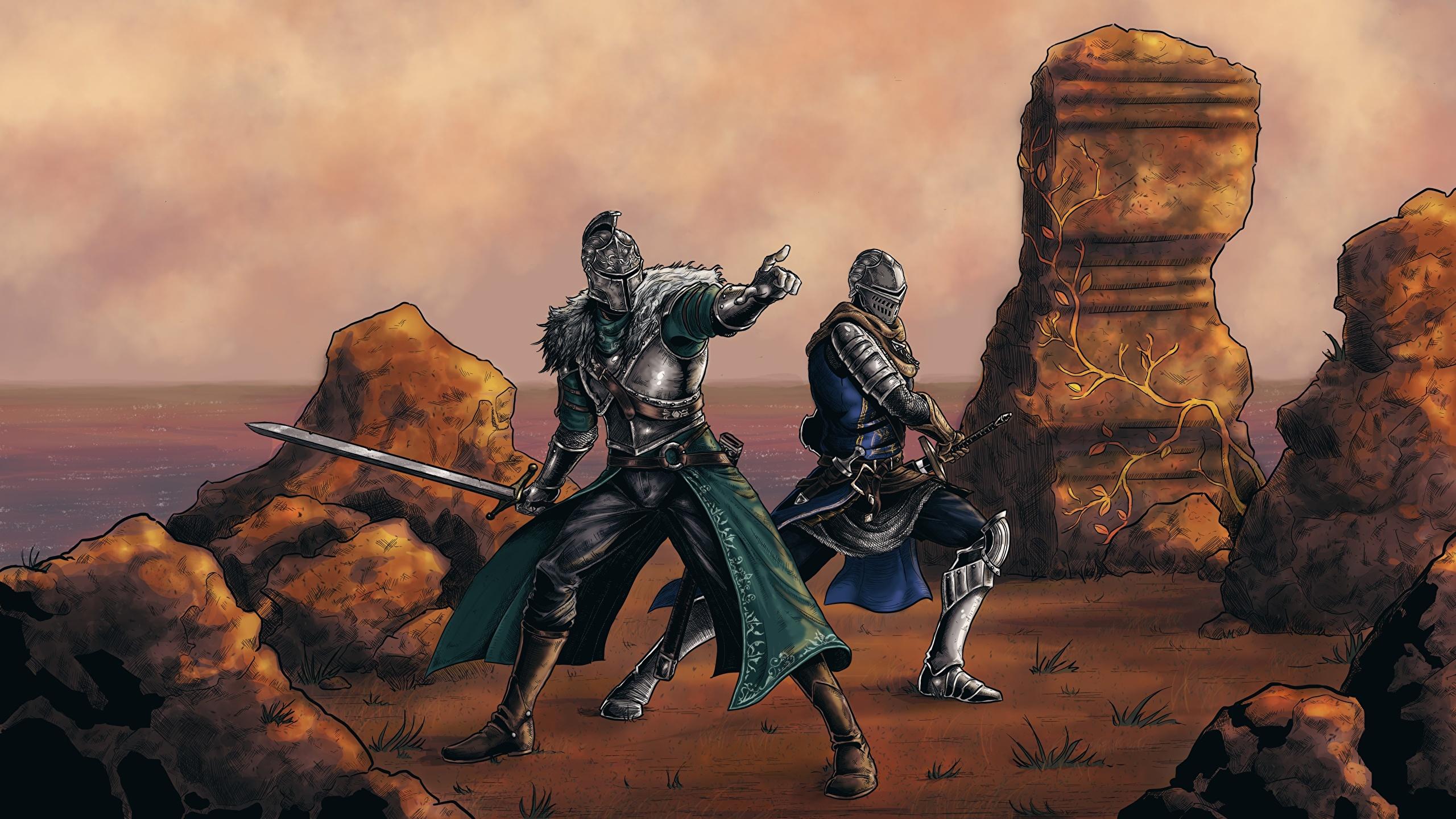 Desktop Wallpapers Fantasy Dark Souls Swords Knight 2560x1440