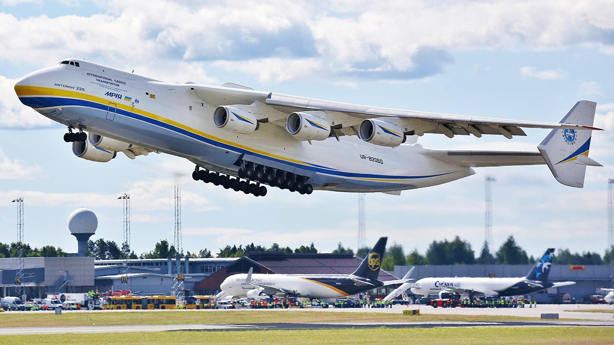 Bilder von Flugzeuge Transportflugzeuge Start Luftfahrt Russische An-225 Mriya Luftfahrt 2048x1152