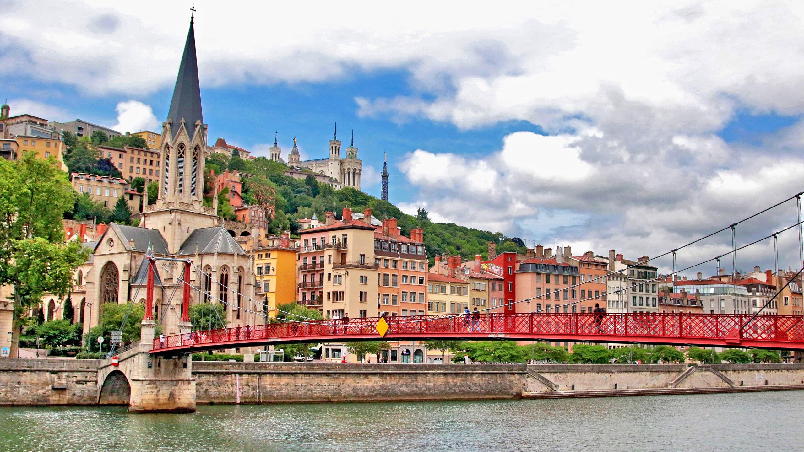 Fonds D Ecran 2560x1440 Ponts Maison Rivieres France Eglise Lyon St George S Bridge Fourviere Hill Villes Telecharger Photo