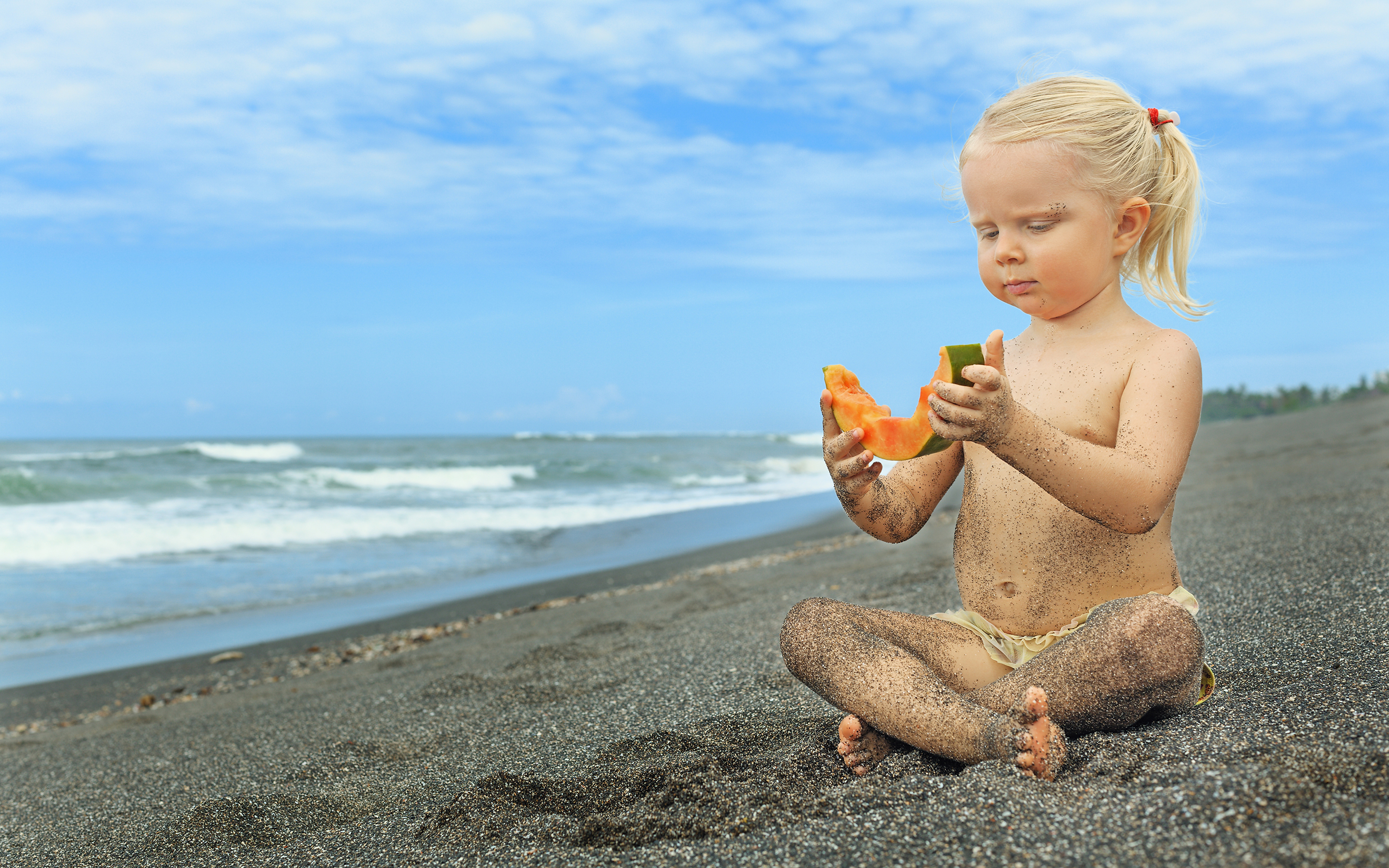 Photo Little girls Blonde girl beaches Children Sand 3840x2400