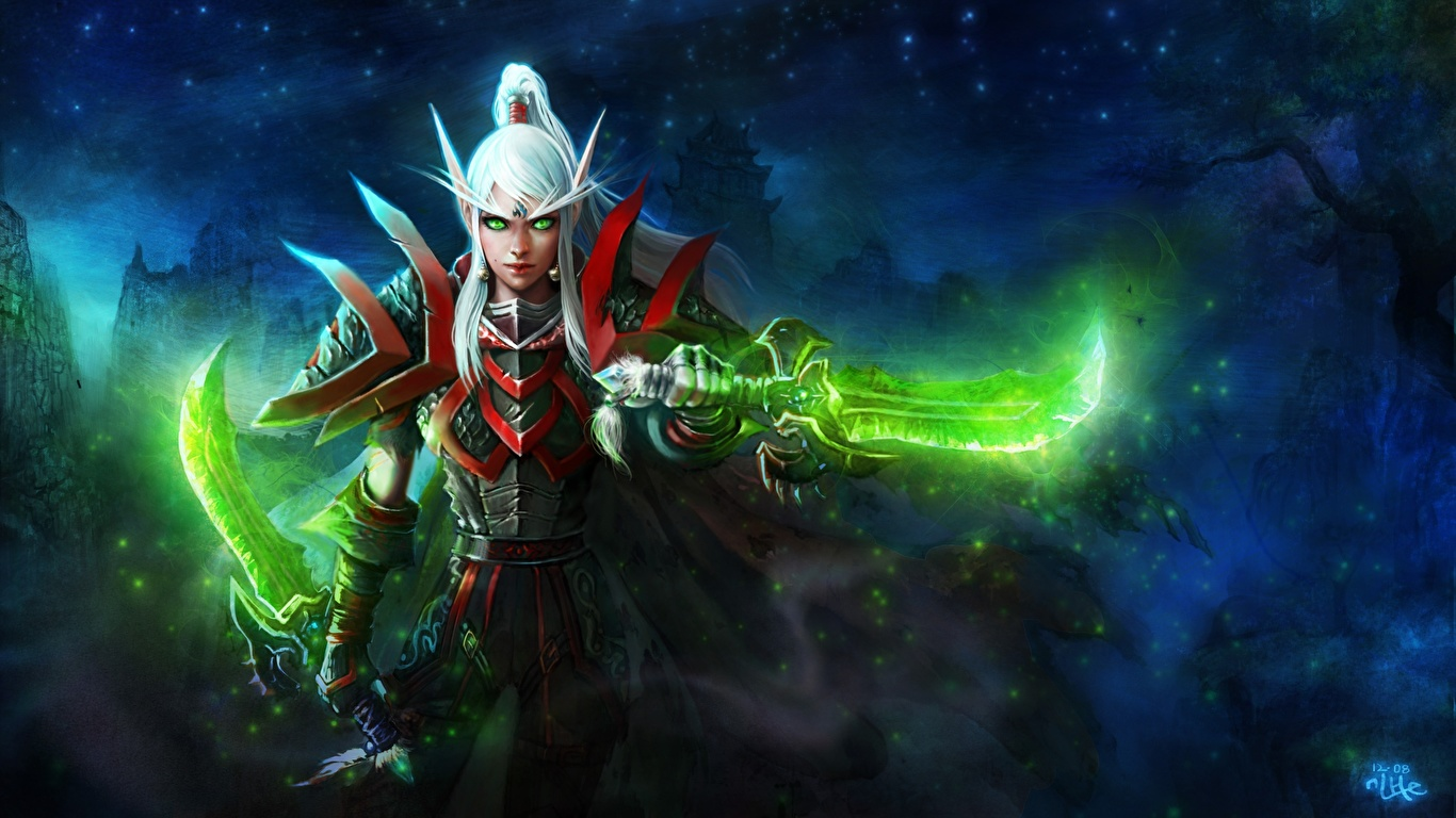 Desktop Wallpapers Wow Armor Elf Warriors Female Fantasy
