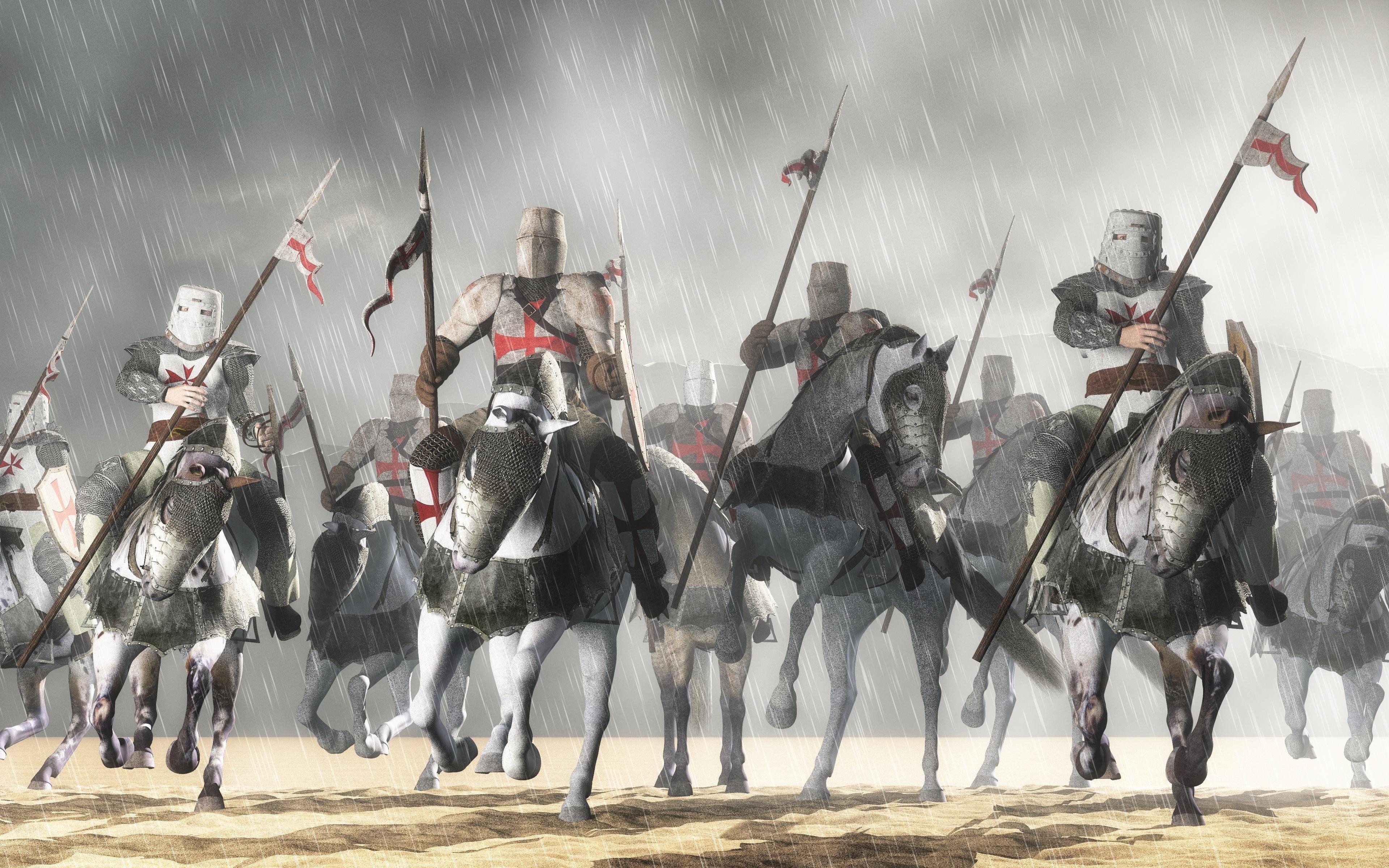 Hintergrundbilder Speer Ritter Pferde Rüstung Mittelalter 3840x2400
