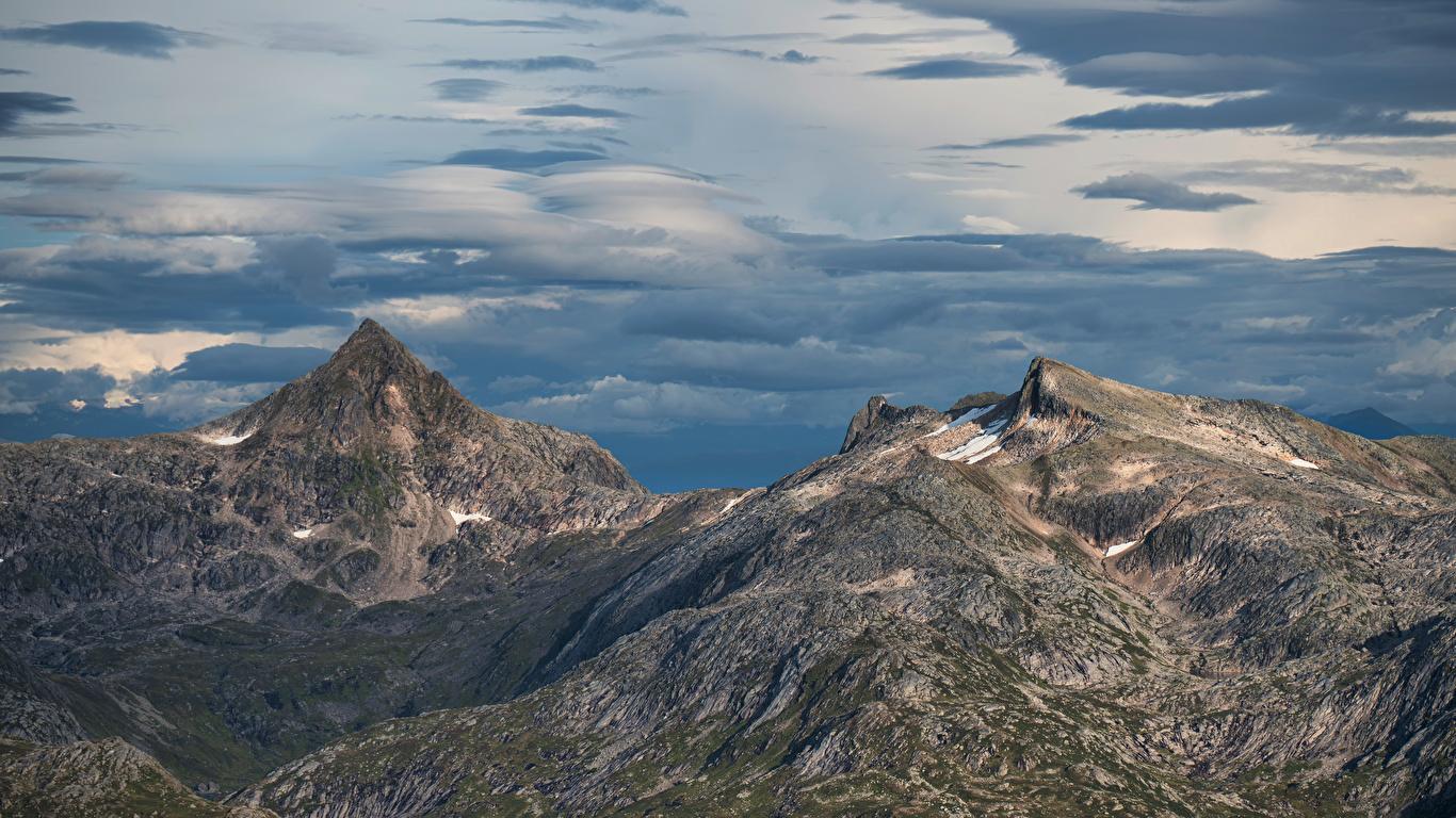 Foto Norwegen Bukketinden Natur Gebirge Wolke 1366x768 Berg