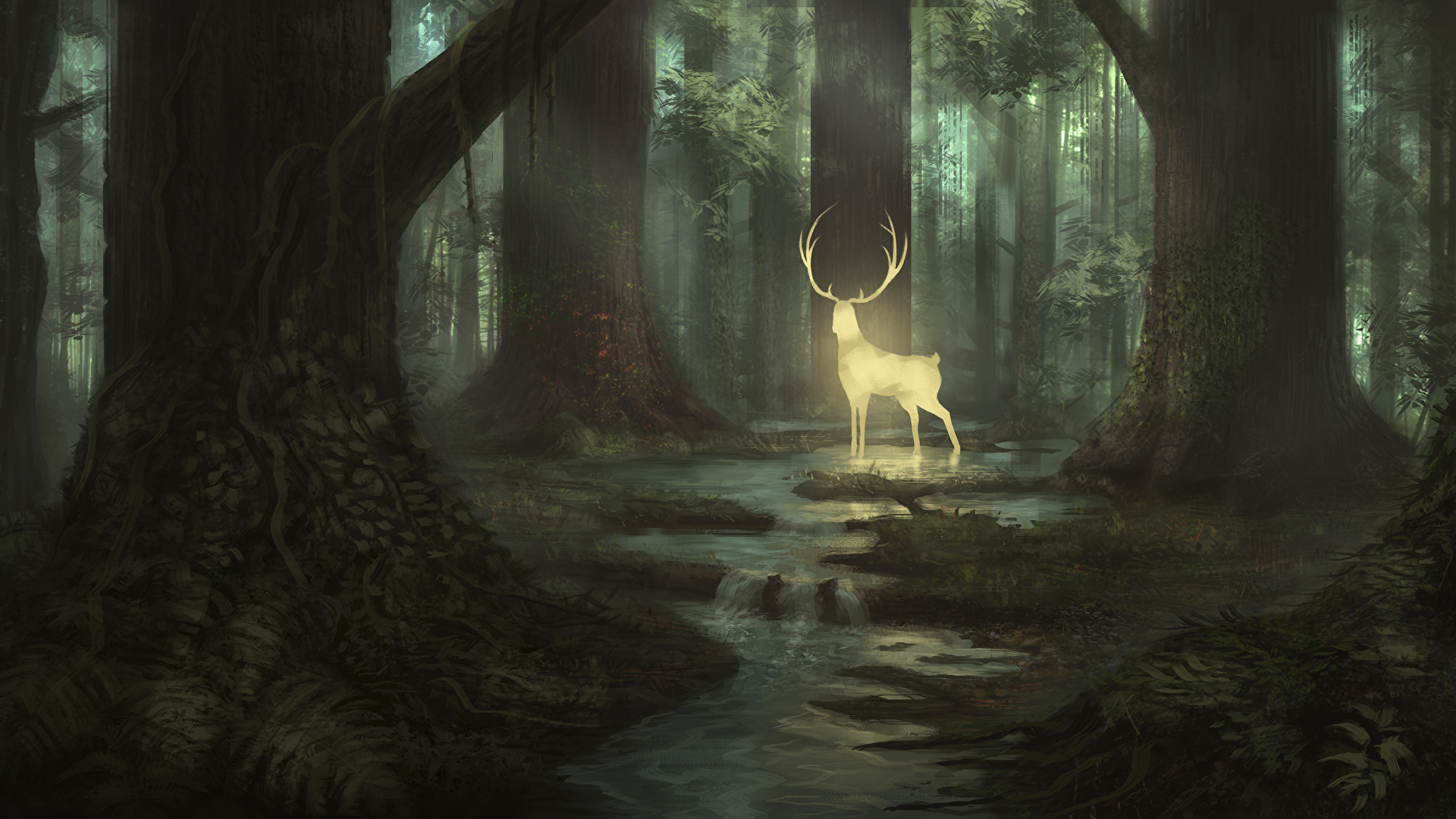 Photos Deer Fantasy Forest Trees Animals Painting Art 1920x1080