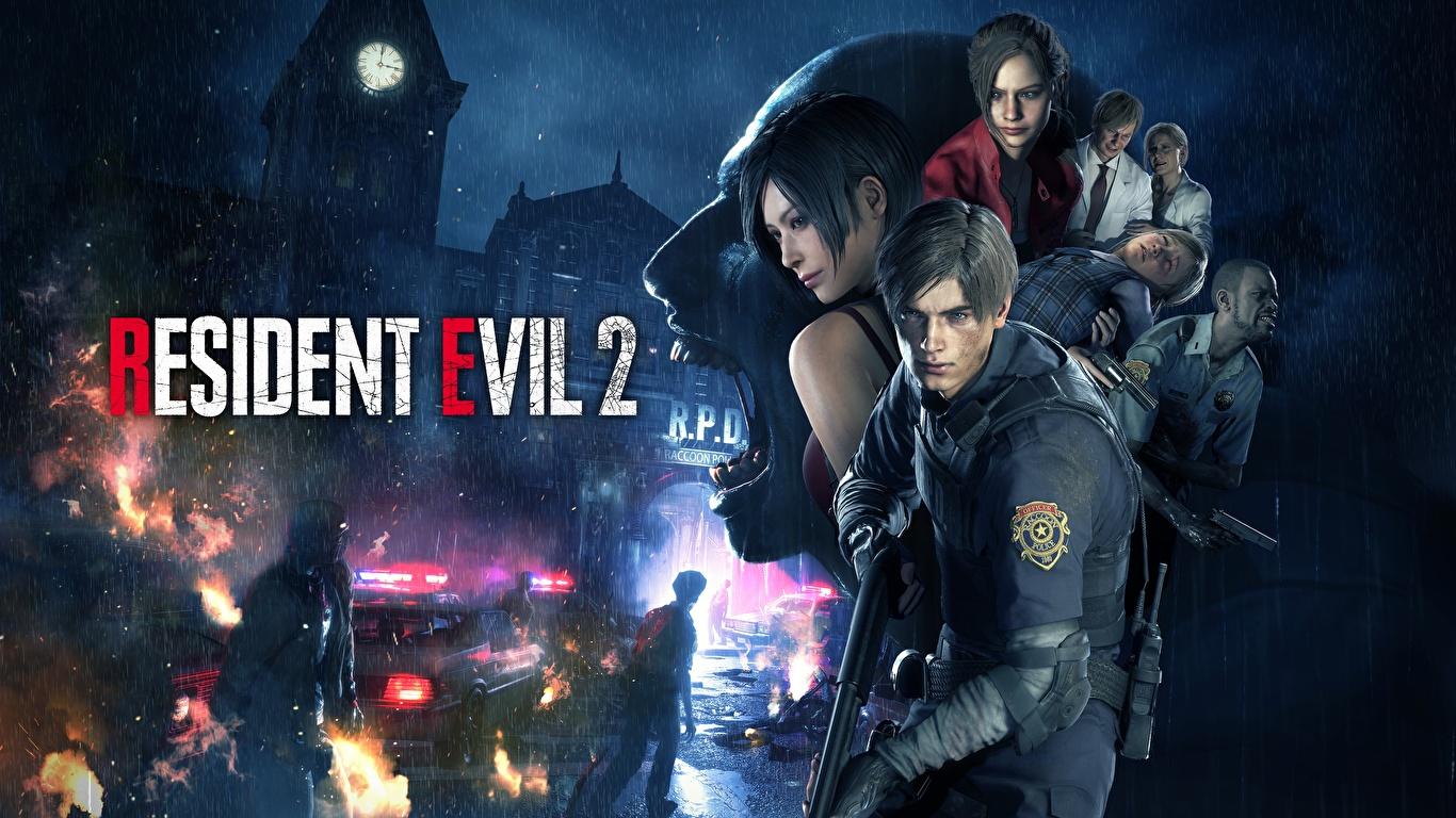 Photo Resident Evil 2 2019 Man Leon S Kennedy Games 1366x768