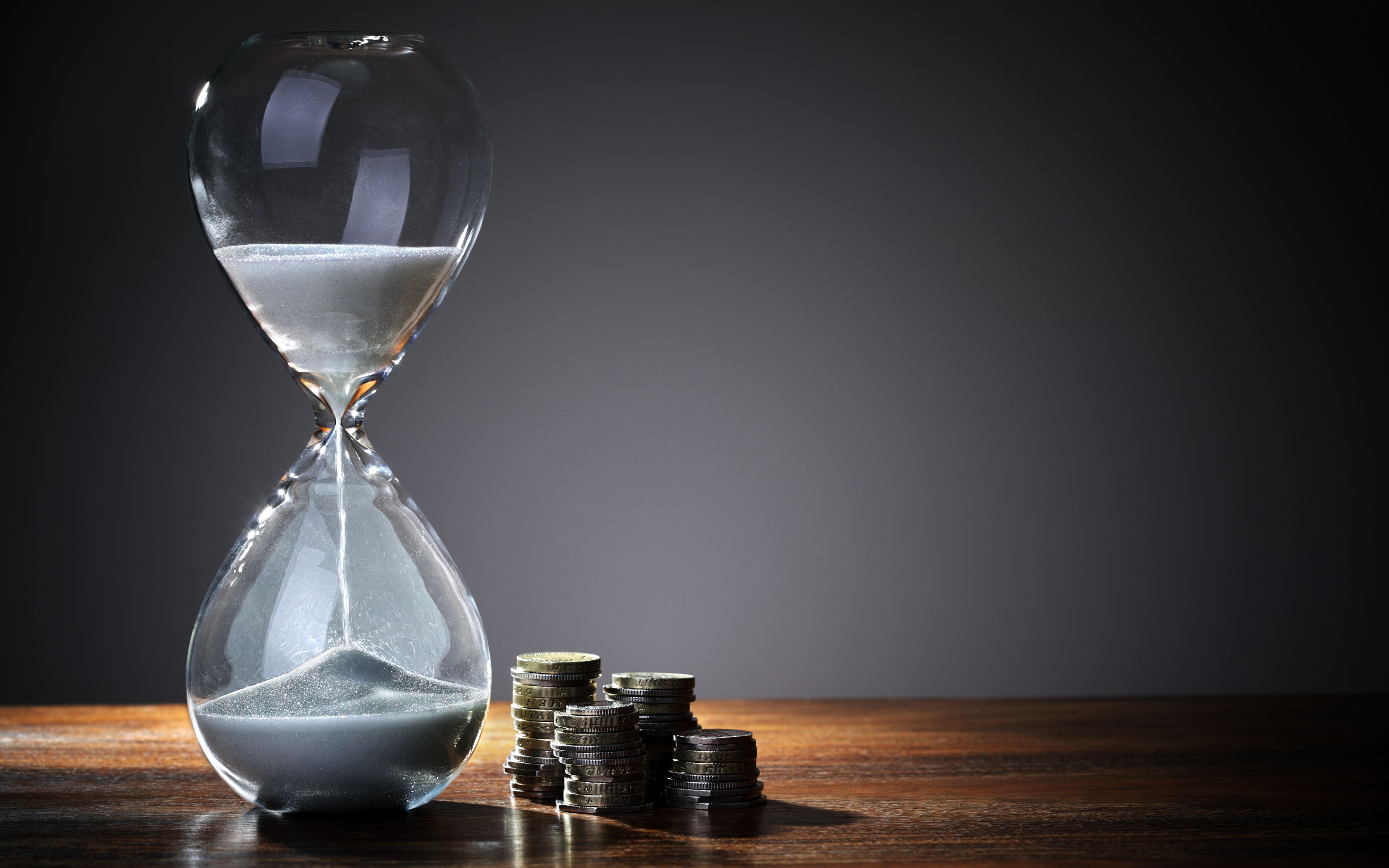 Picture Coins Hourglass Clock Sand 3840x2400