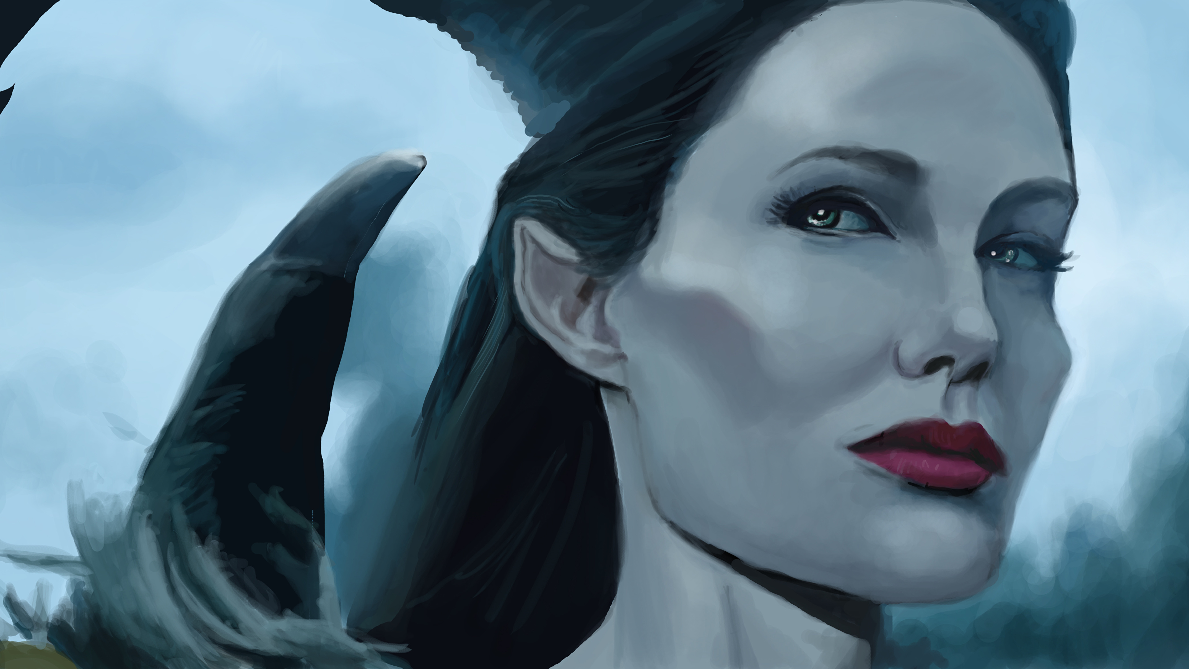 Pictures Maleficent Film Angelina Jolie Face Girls 3840x2160