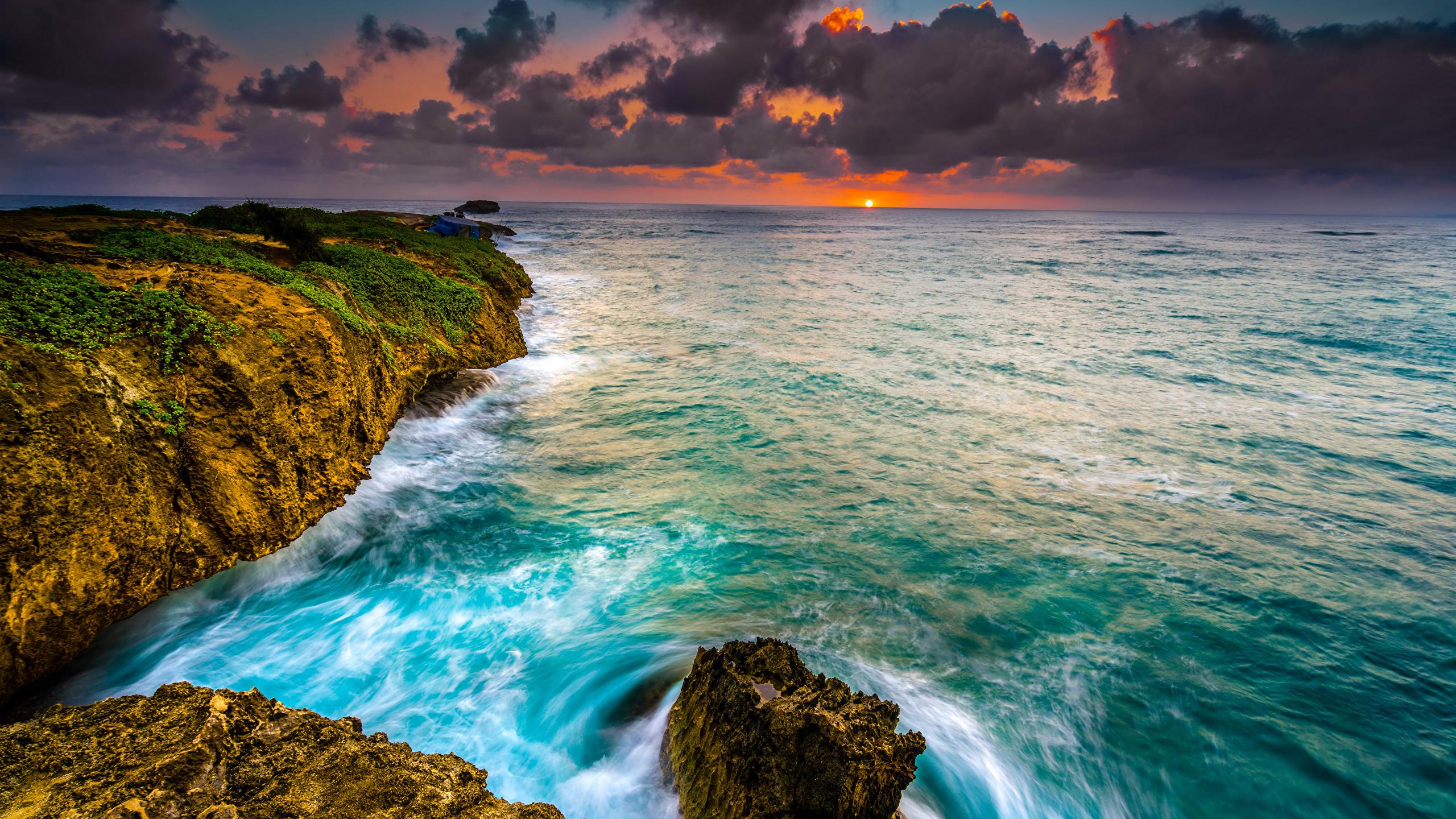 壁紙 2560x1440 海岸 朝焼けと日没 波 大洋 アメリカ合衆国