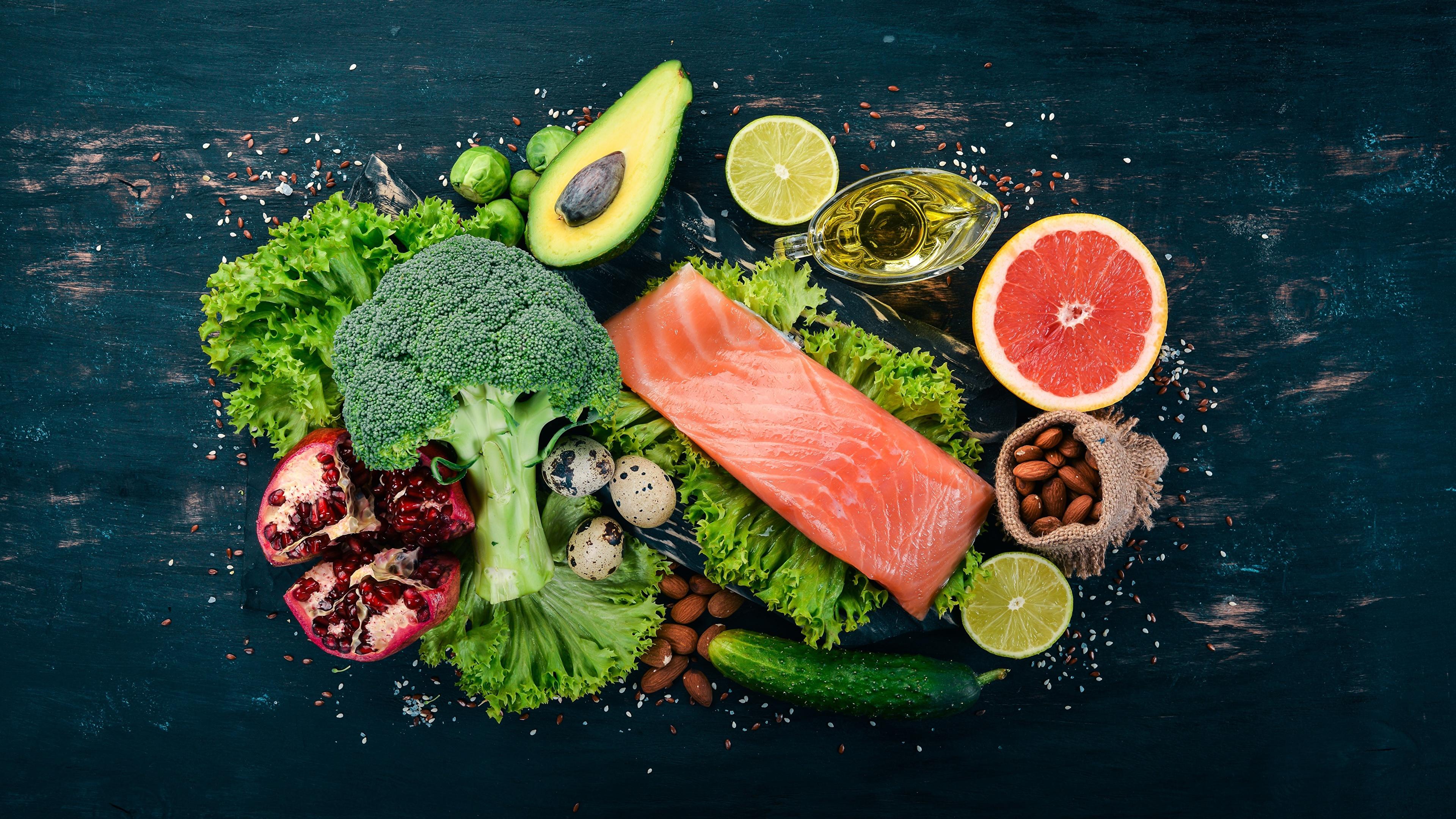 3840x2160 Hortaliça Peixes - Alimentos Salmão comida Alimentos