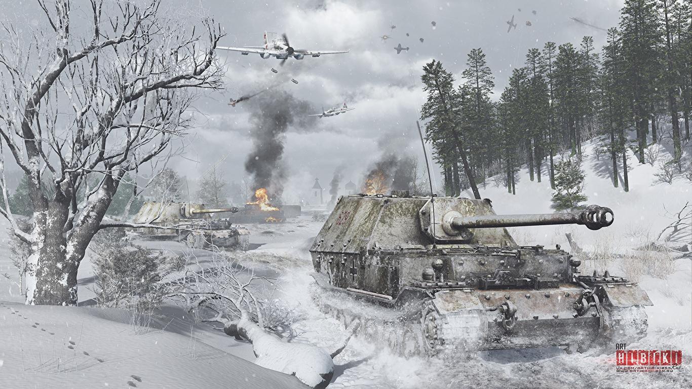 Bilder von War Thunder Erdkampfflugzeug Flugzeuge Selbstfahrlafette Deutsch Russische Ferdinand,  Il-2 Winter 3D-Grafik Schnee Spiele 1366x768 Schlachtflugzeug deutsche deutscher russischer russisches computerspiel