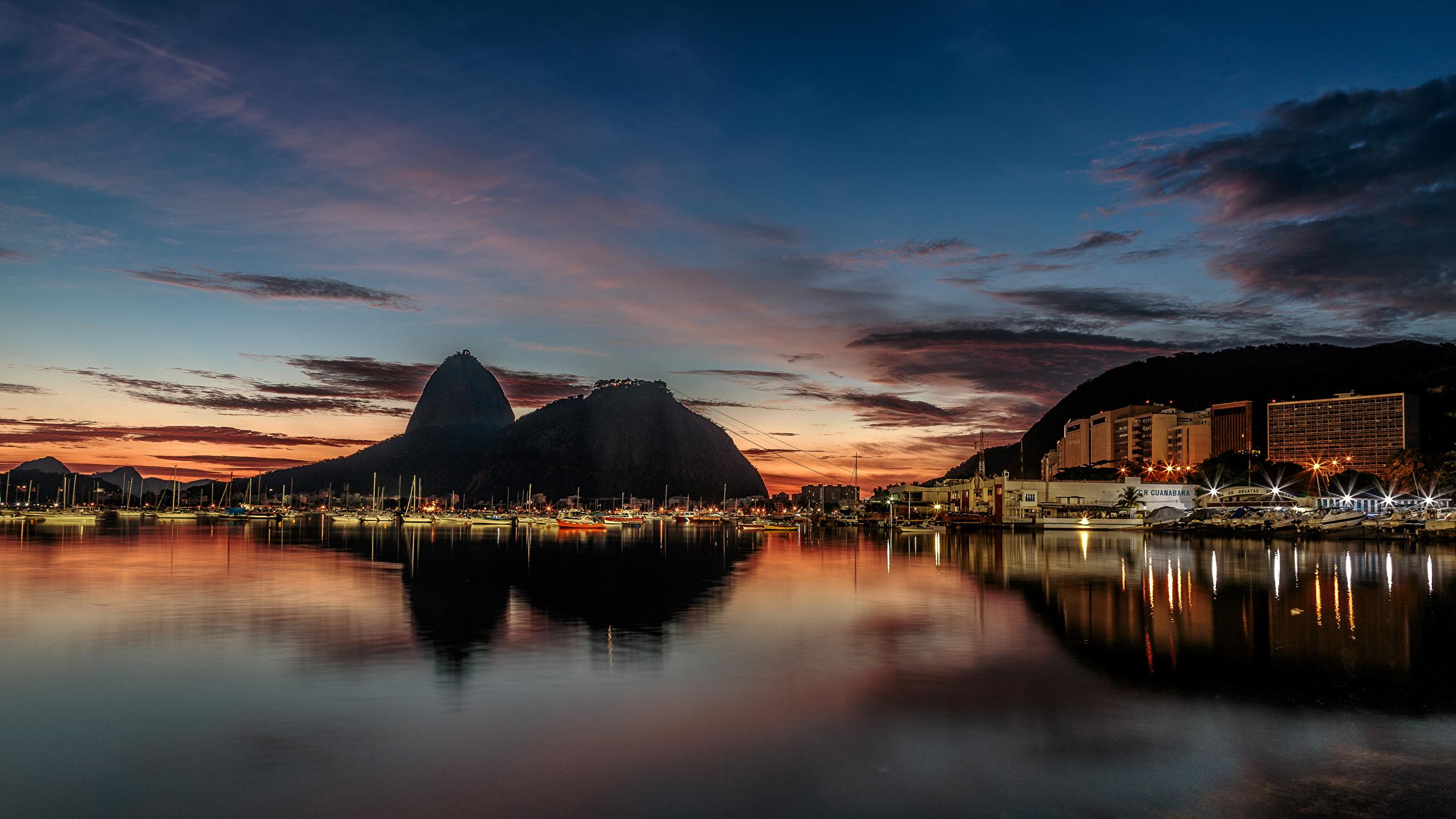 Pictures Rio De Janeiro Brazil Bay Berth Night Time Cities 2560x1440