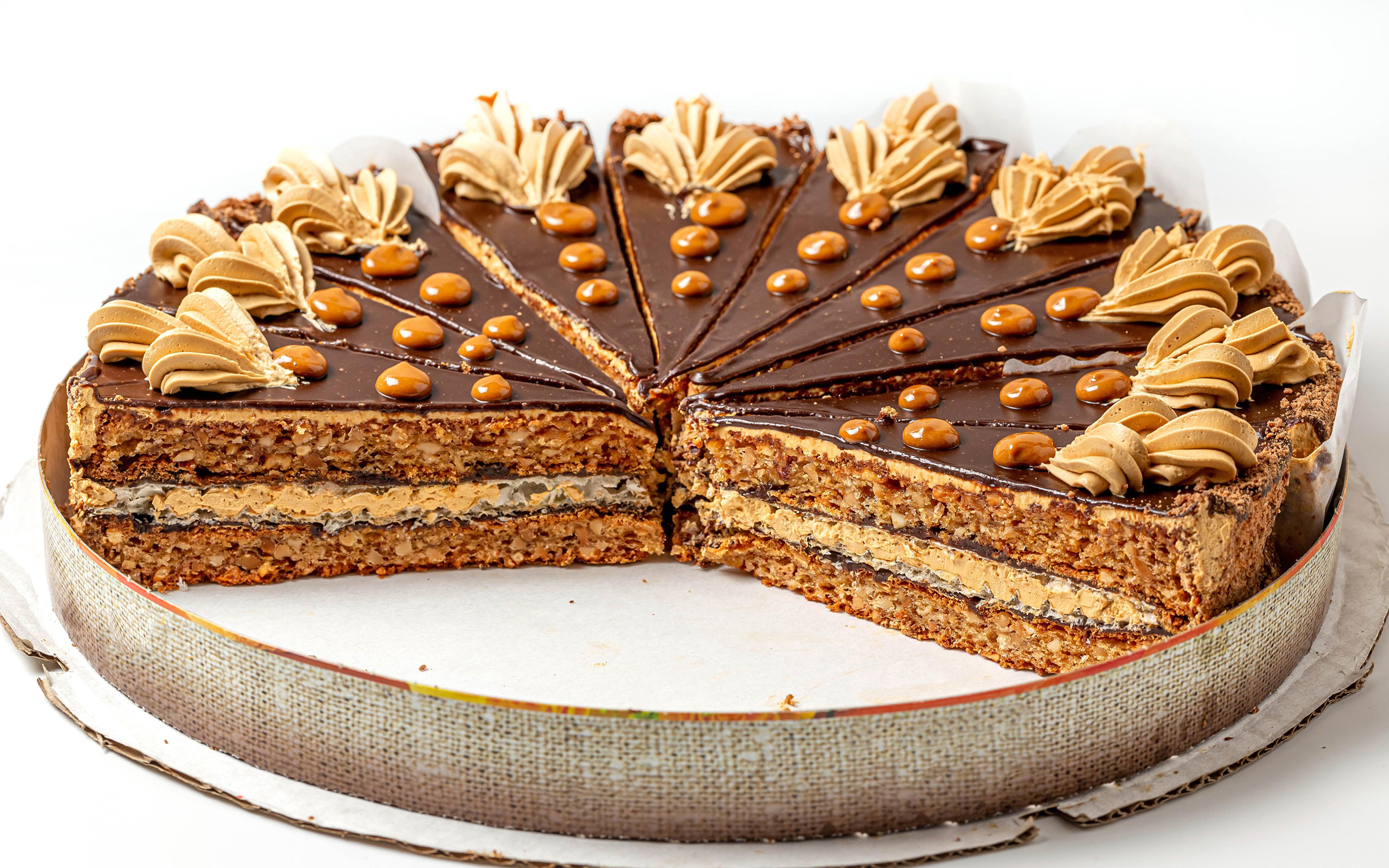 Immagine Cioccolato La torta Cibo Sfondo bianco Disegno 3840x2400 alimento
