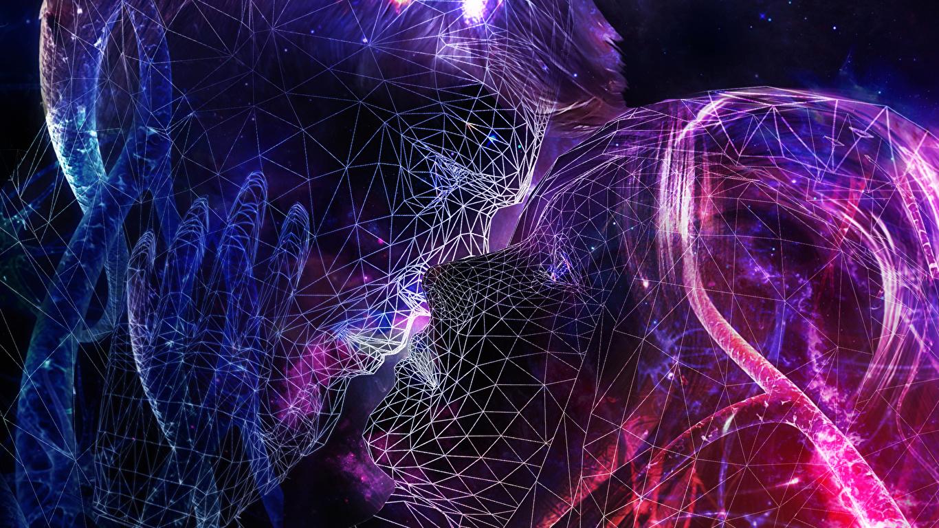 Fonds Decran 1366x768 Abstraction Homme Visage Baiser 3d