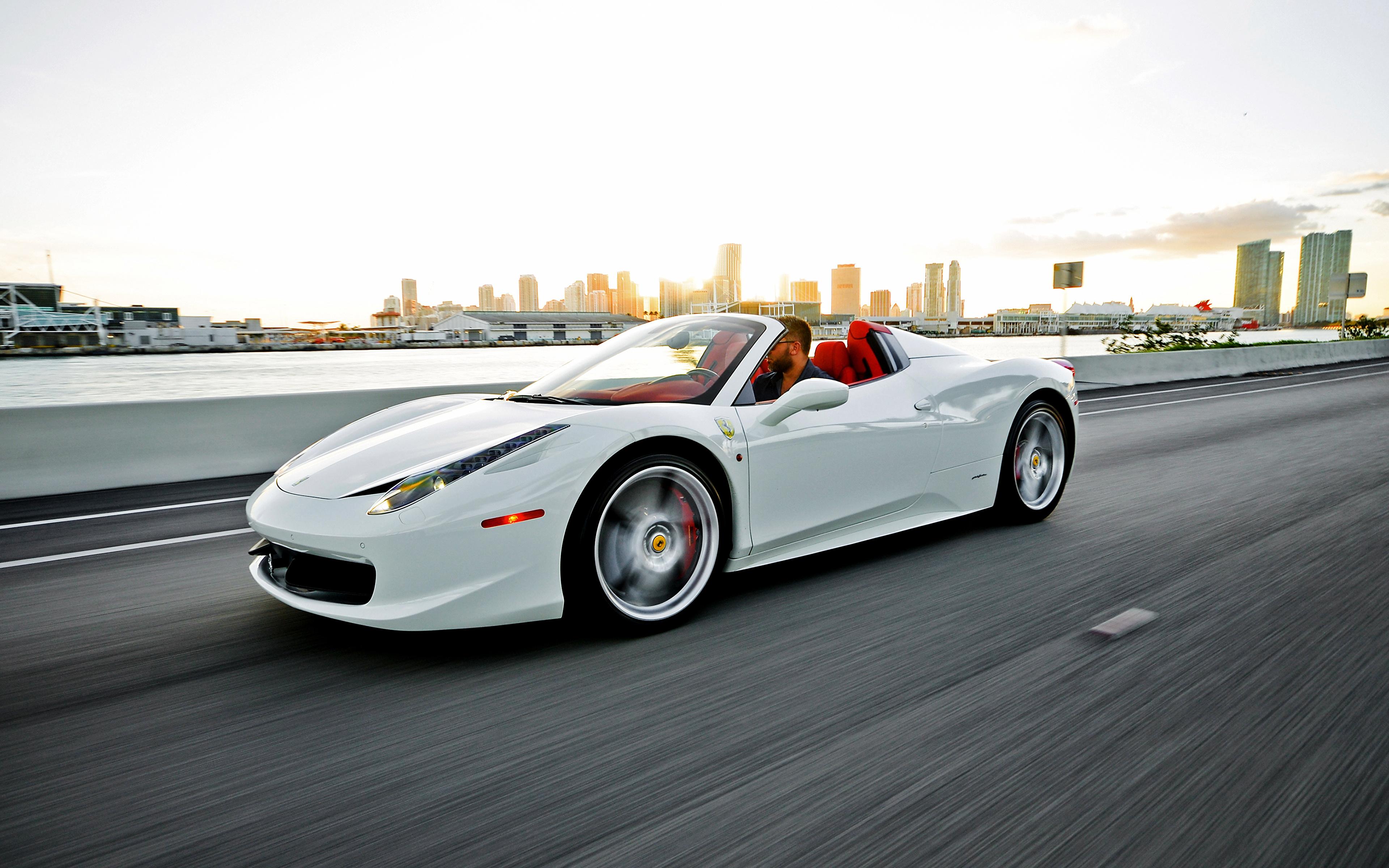 Picture Ferrari 458 Italia Spider Convertible White Moving 3840x2400