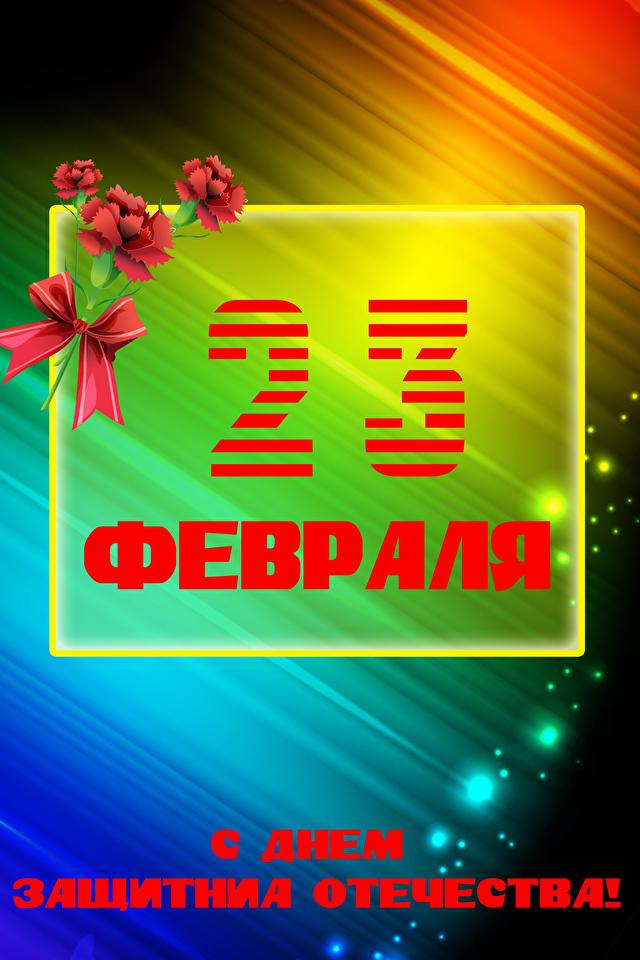 Hintergrundbilder Tag des Verteidigers des Vaterlandes Russische Nelken Schleife Feiertage 640x960